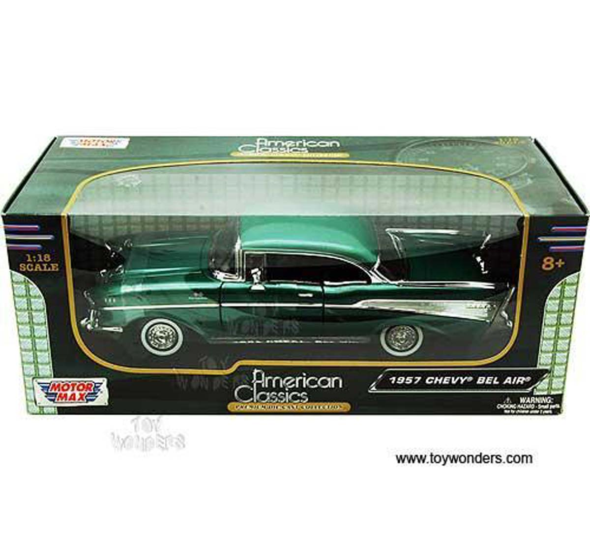 Motormax | Motormax 1:18 1957 Chevy Bel Air Diecast Car Vehicles for Kids Age 8Y+ (Black)