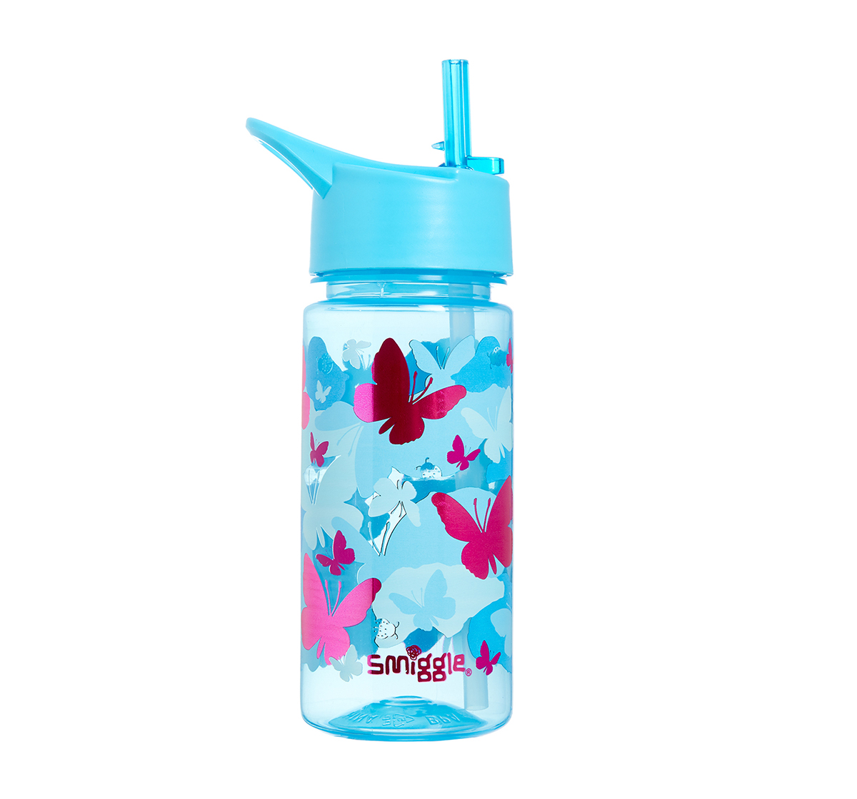 Smiggle   Smiggle Giggle Bottle with Flip Top Spout - Butterfly Print Bags for Kids age 3Y+ (Blue)