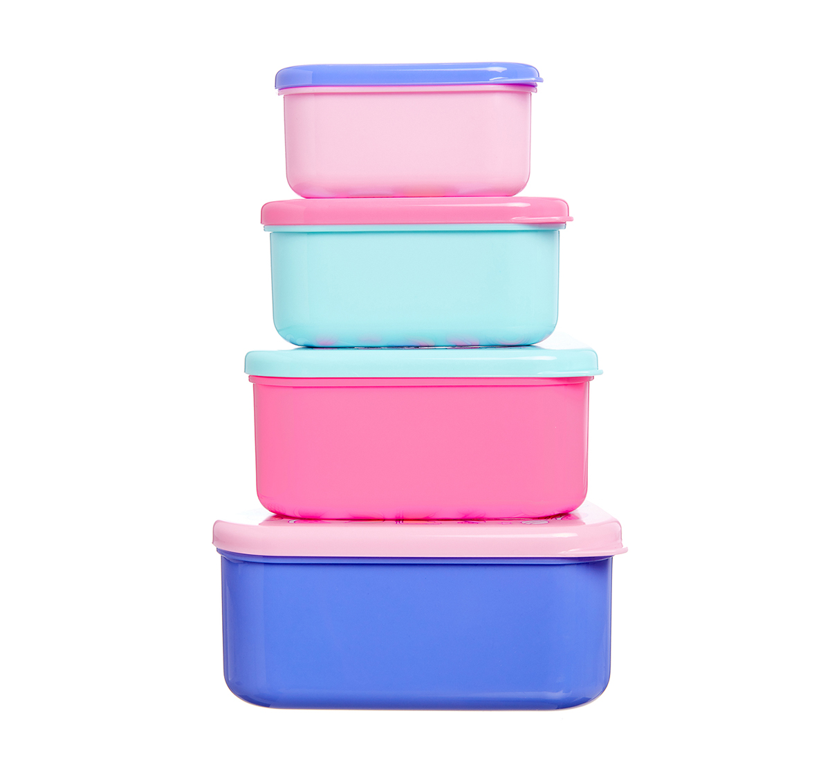 Smiggle | Smiggle Life Set of 4 Happy Snack N Stack Containers -Bags for Kids age 3Y+ (Pink)