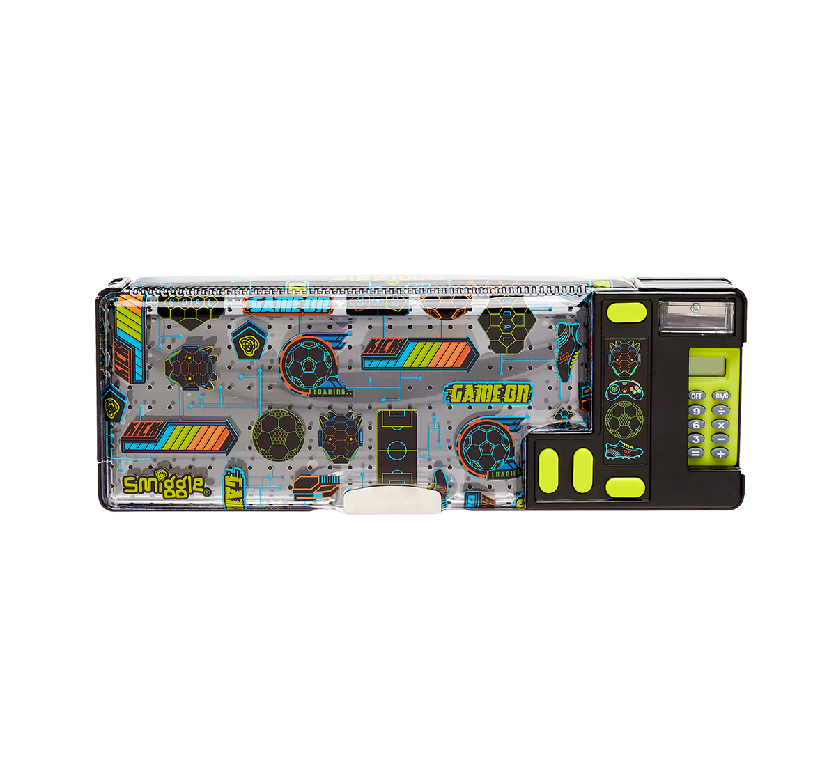 Smiggle | Smiggle Far Away Pop Out Pencil Case - Football Print Bags for Kids age 6Y+ (Black)