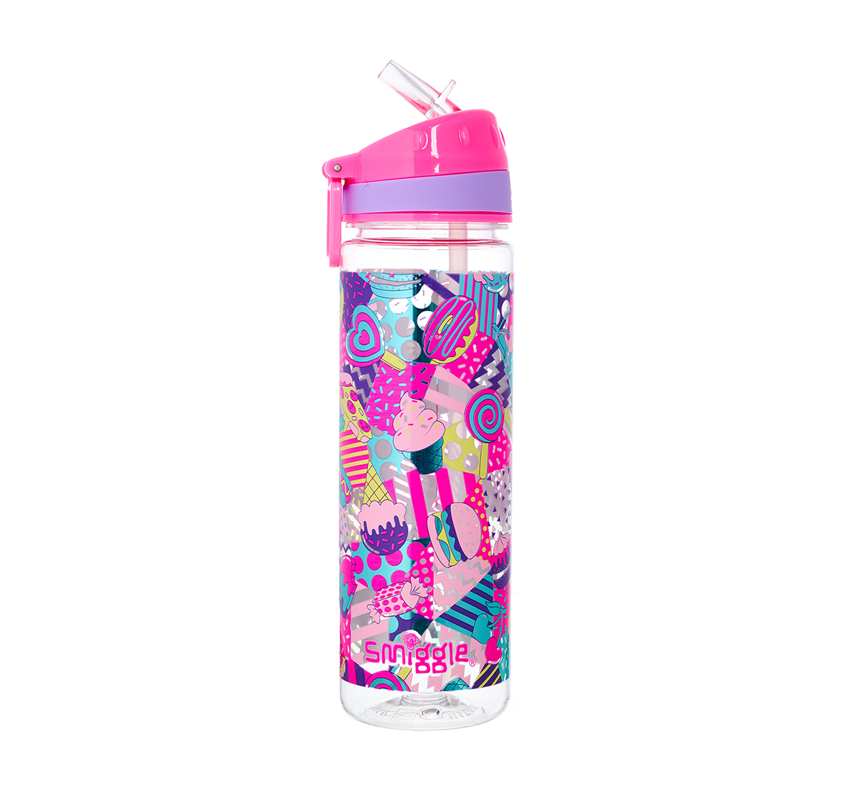 Smiggle   Smiggle Far Away Drink Bottle with Flip Top Spout - Ice-cream Print Bags for Kids age 3Y+ (Pink)