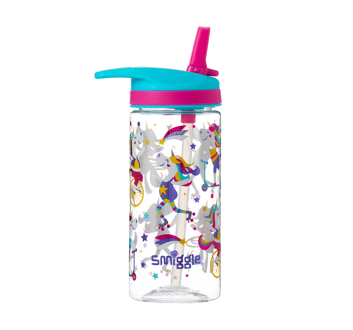 Smiggle   Smiggle Whirl Junior Bottle with Flip Top Spout - Unicorn Print Bags for Kids age 3Y+ (Mint)