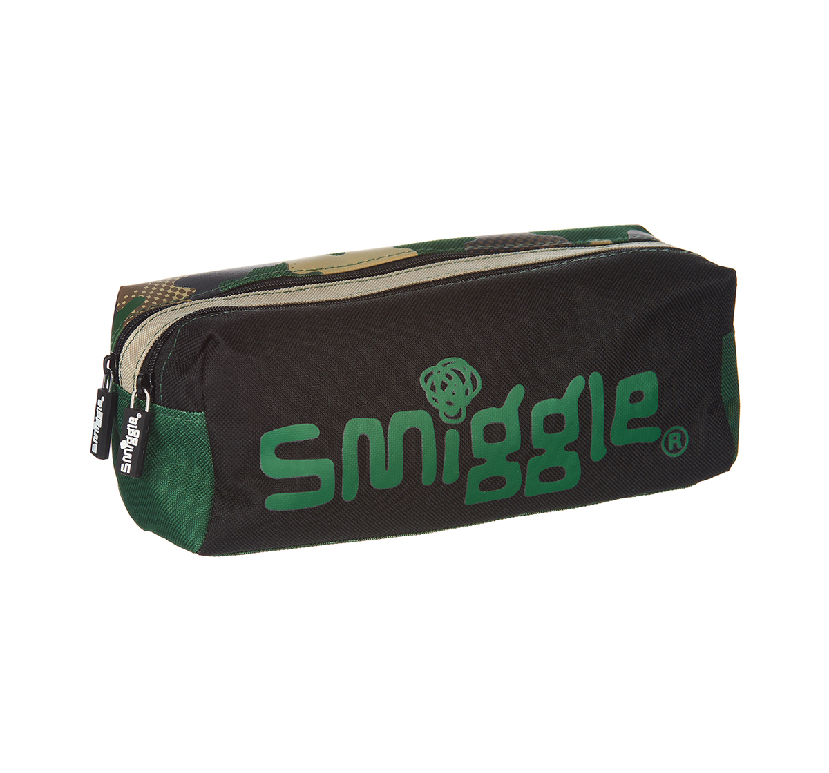 Smiggle   Smiggle Block Pencil Case with Two Zipped Compartments - Camouflage Print Bags for Kids age 3Y+ (Khaki)