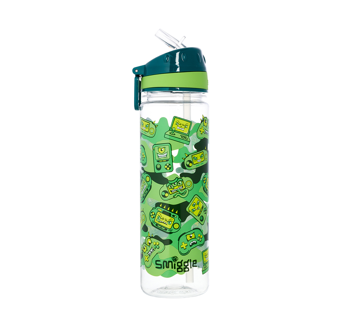 Smiggle    Smiggle Far Away Drink Bottle with Flip Top Spout - Gaming Print Bags for Kids age 3Y+ (Green)