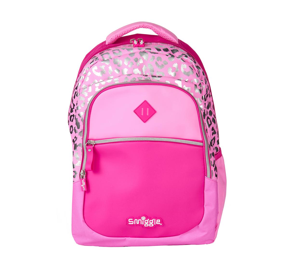 Smiggle | Smiggle Block Backpack - Leopard Print Bags for Kids age 3Y+ (Pink)