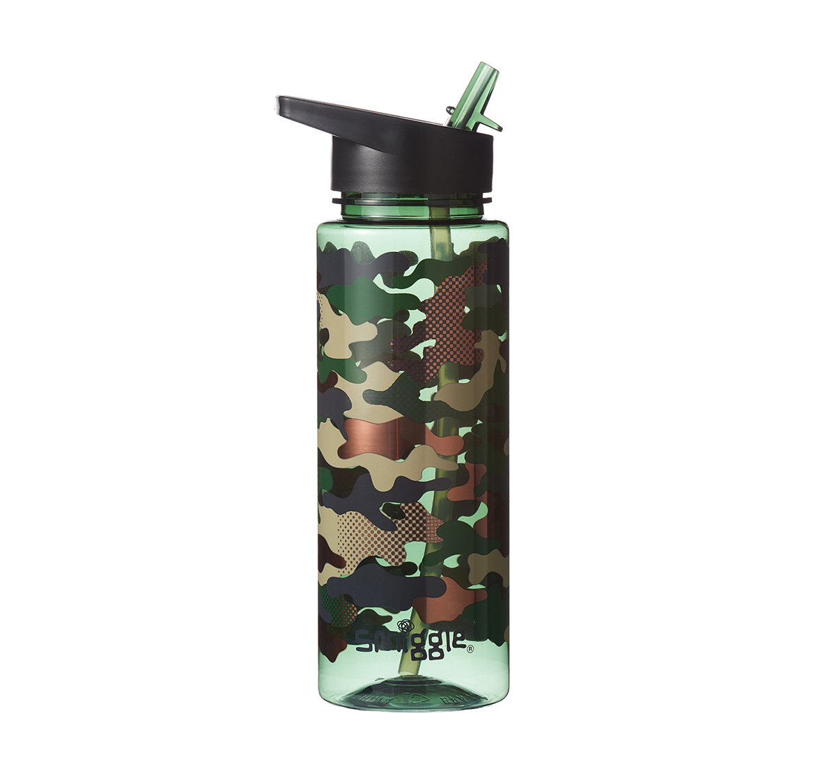 Smiggle | Smiggle Block Bottle with Flip Top Spout - Camouflage Print Bags for Kids age 3Y+ (Khaki)