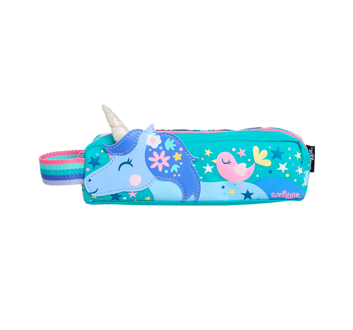 Smiggle    Smiggle Topsy Teeny Tiny Pencil Case - Unicorn Print Bags for Kids age 3Y+ (Aqua)