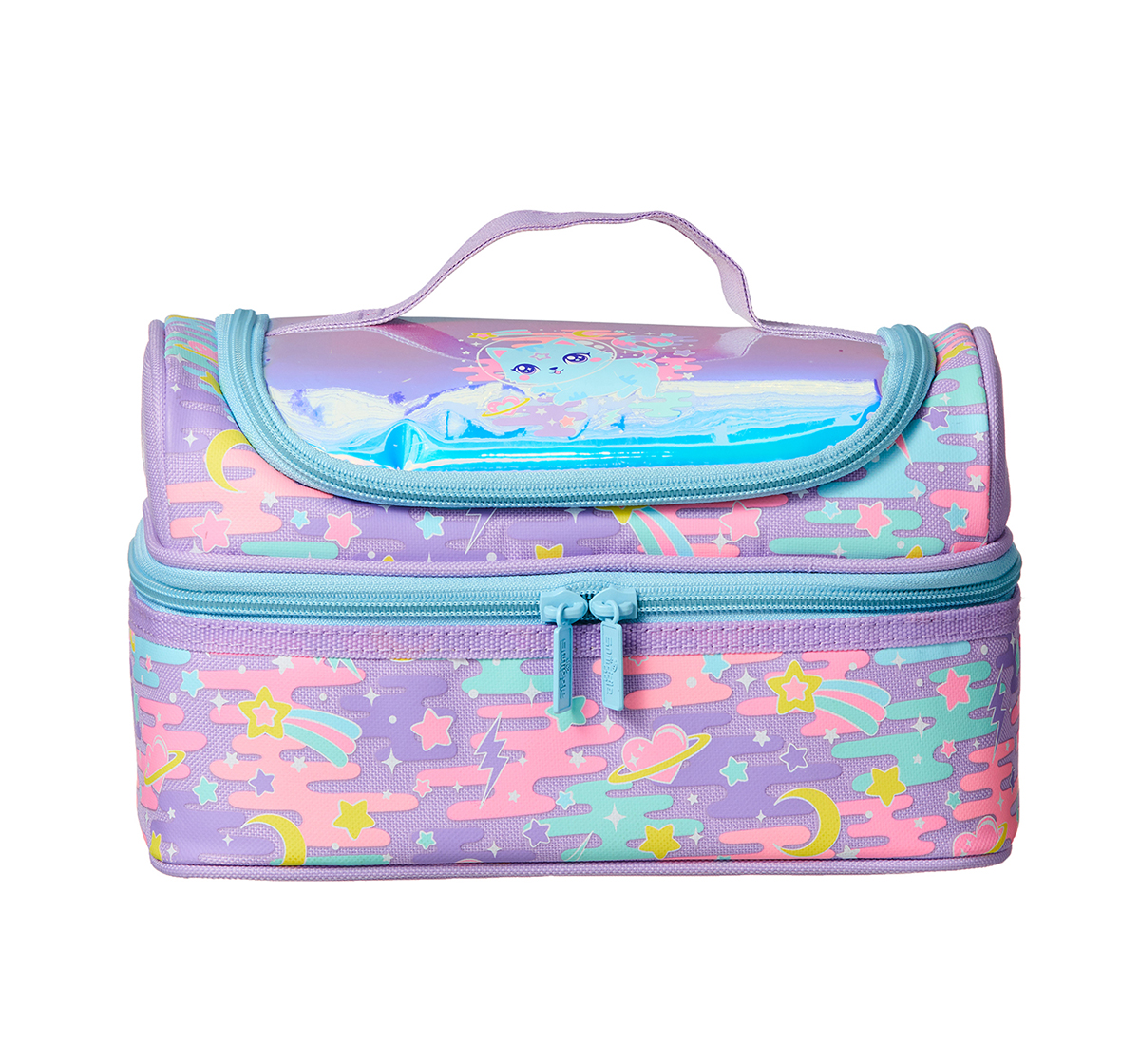 Smiggle |  Smiggle Far Away Double Decker Lunchbox - Cat Print Bags for Kids age 3Y+ (Lilac)