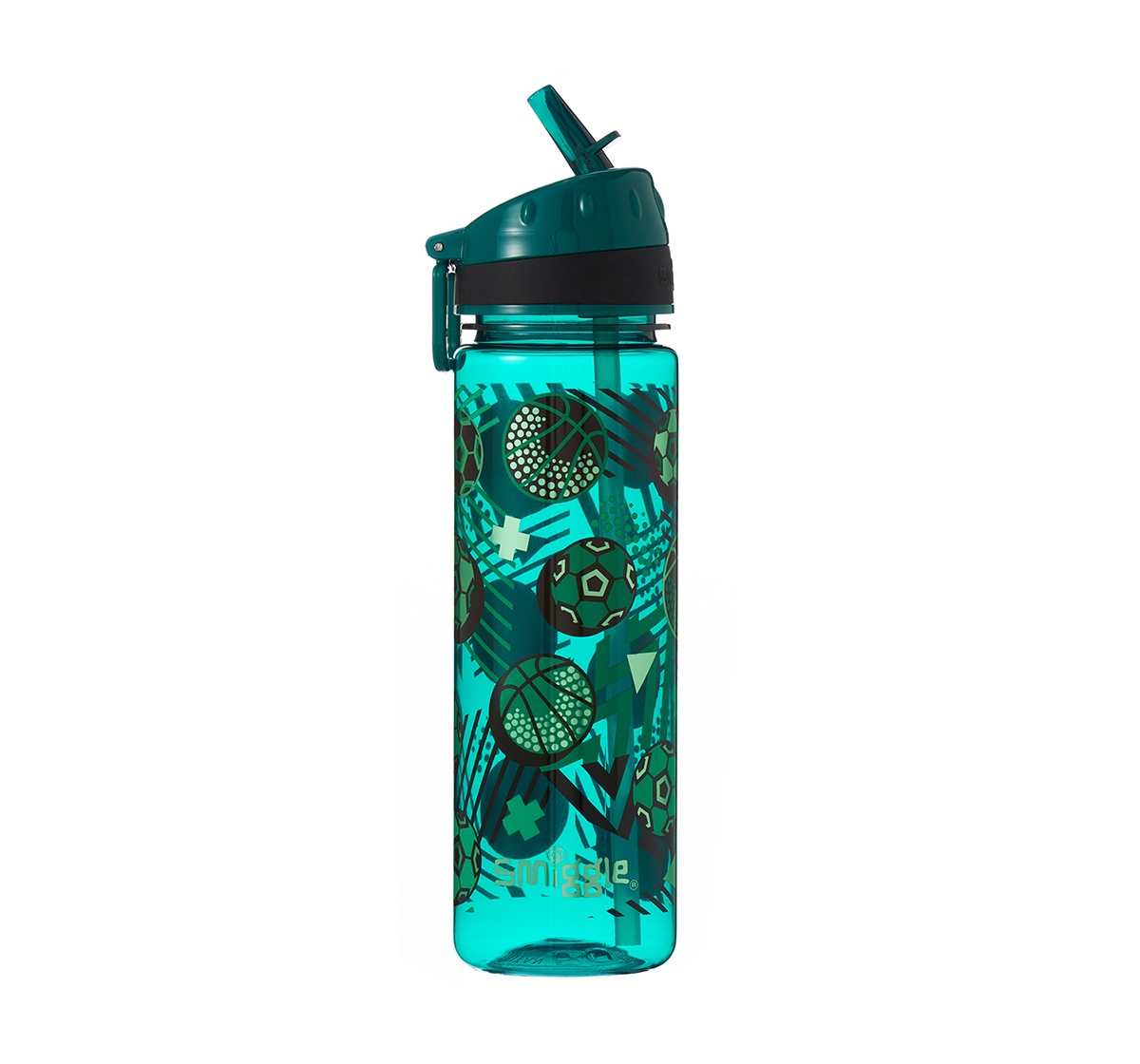 Smiggle | Smiggle Flow Drink Bottle with Flip Top Spout Football Print Bags for Kids age 3Y+ (Green)