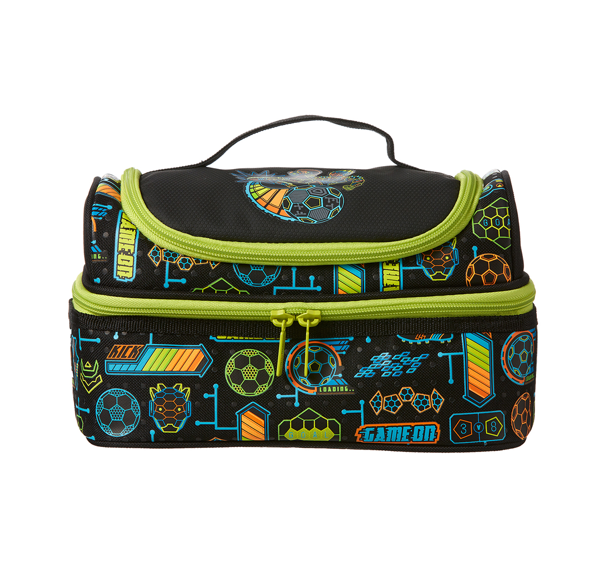 Smiggle | Smiggle Far Away Double Decker Lunchbox - Football Print Bags for Kids age 3Y+ (Black)
