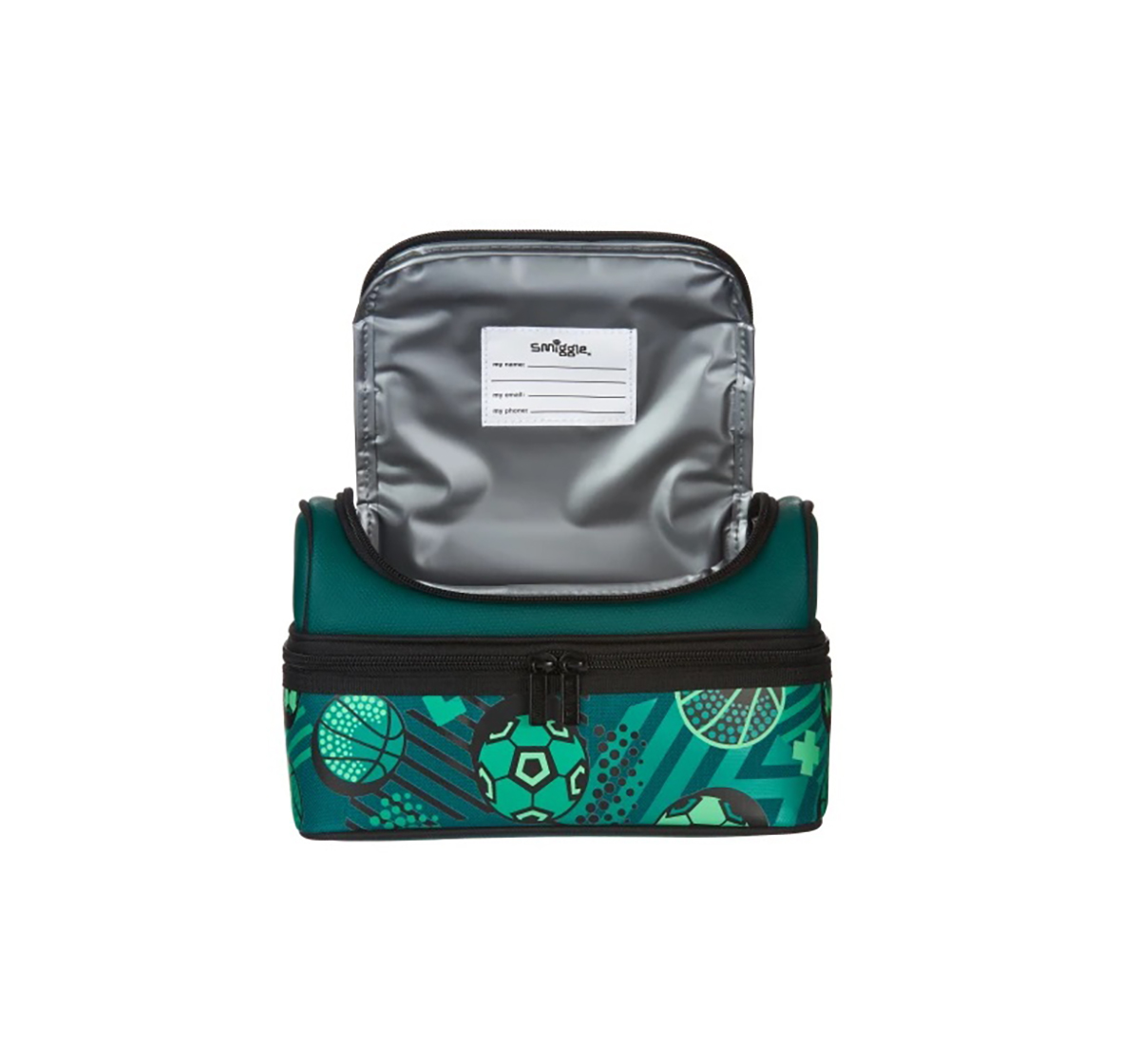 Smiggle   Smiggle Flow Double Decker Lunchbox - Football Print Bags for Kids age 3Y+ (Green)