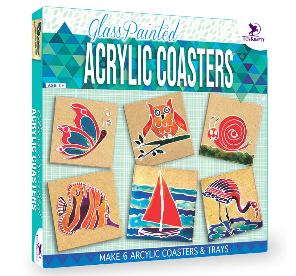 Toy Kraft | Toy Kraft Glass Painted - Acrylic Coasters, Multicolor, 8Y+