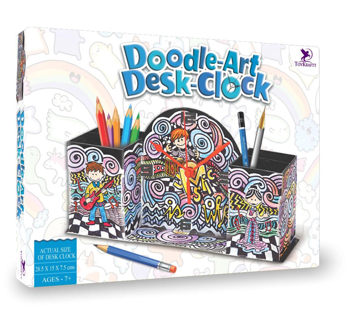Toy Kraft | Toy Kraft Doodle Design - Desk Clock, Multicolor, 7Y+