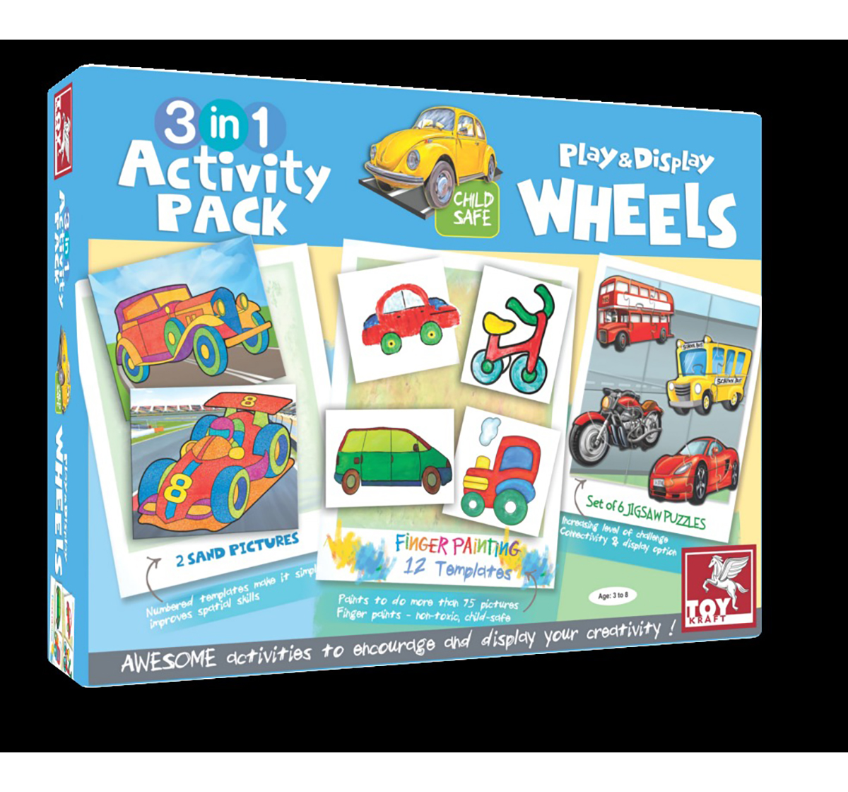 Toy Kraft | Toy Kraft 3 In 1 Activity – On Road DIY Art & Craft Kits for Kids age 3Y+