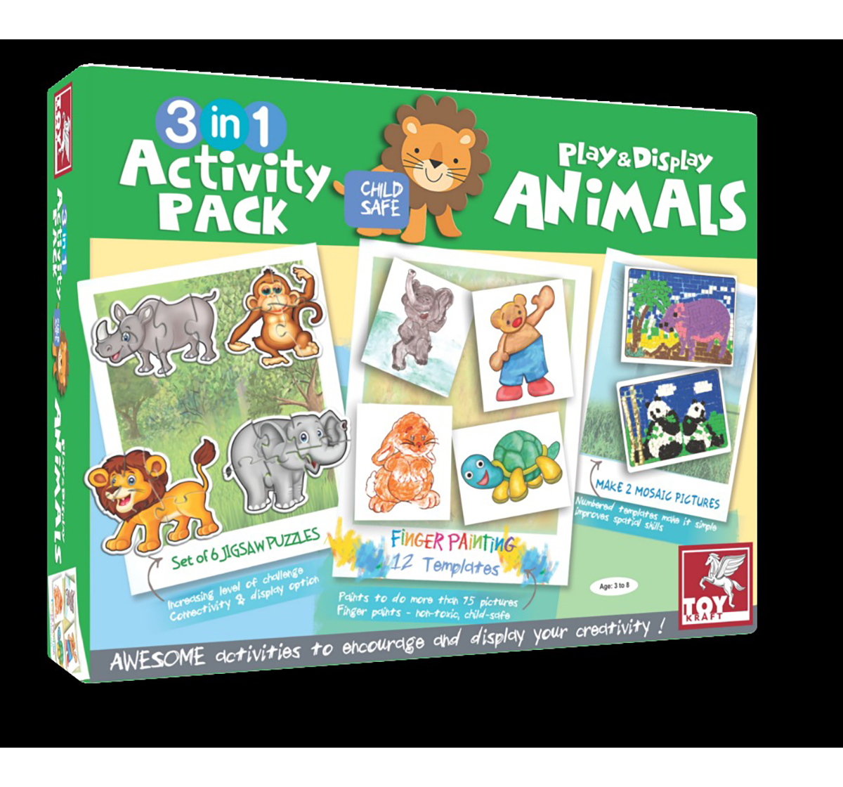 Toy Kraft | Toy Kraft 3 In 1 Activity – In Jungle DIY Art & Craft Kits for Kids age 3Y+