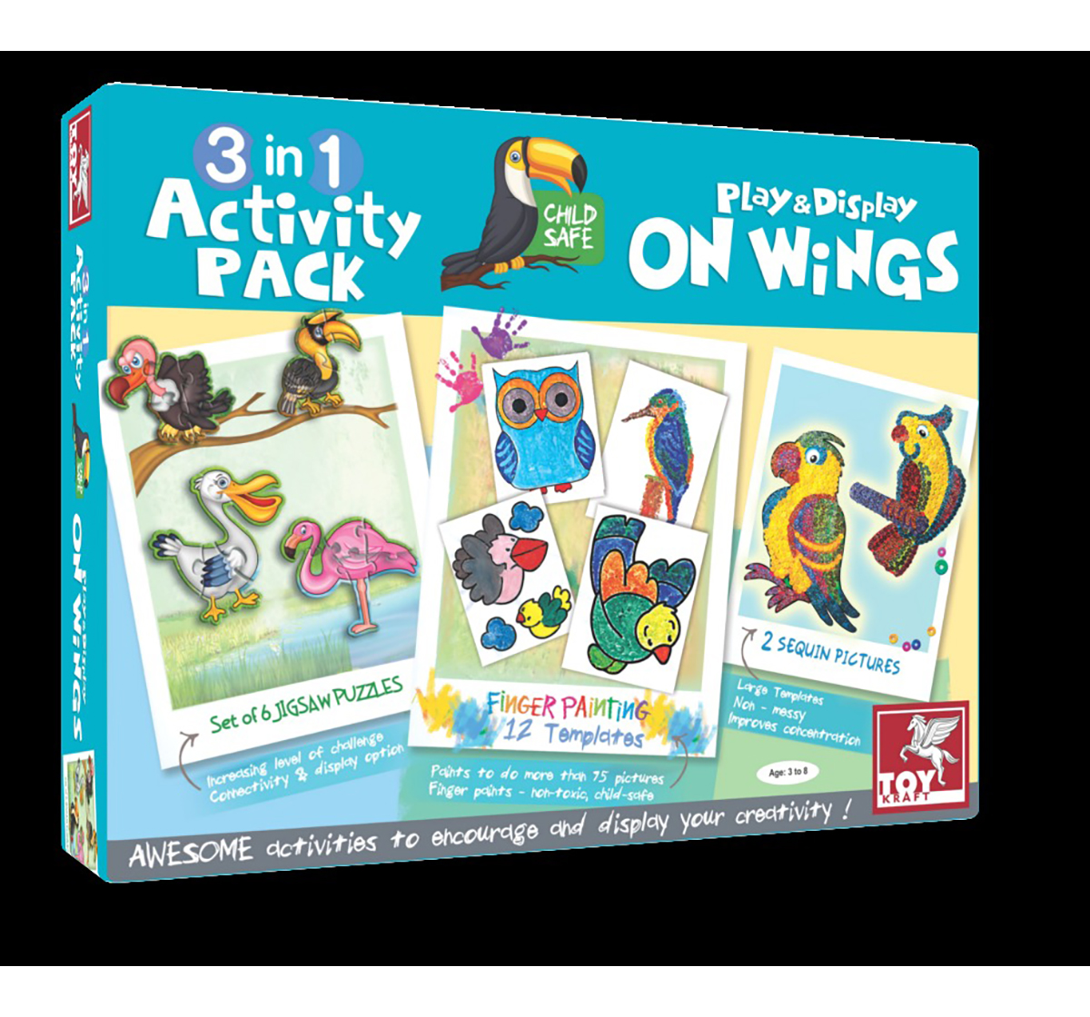 Toy Kraft | Toy Kraft 3 In 1 Activity – On Wings DIY Art & Craft Kits for Kids age 3Y+
