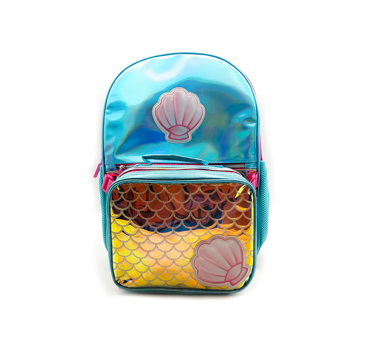 Hamster London | Hamster London Shiny Shell Backpack with Tiffin Bag for Girls age 3Y+ (Blue)