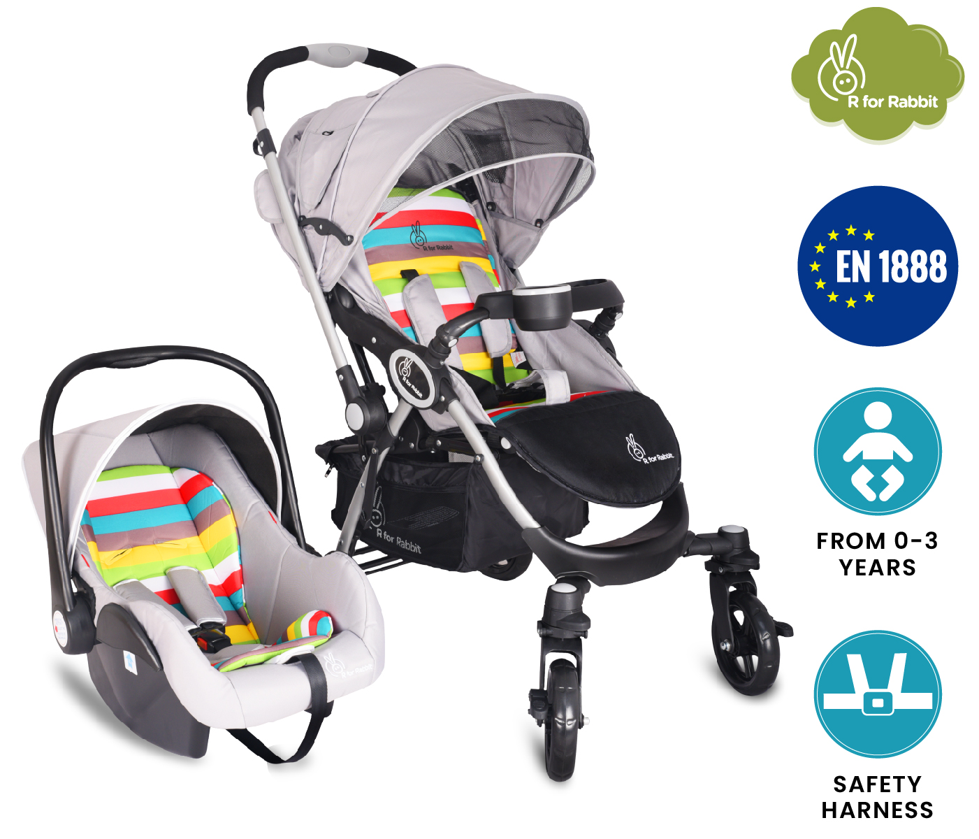 Mothercare | R For Rabbit Chcocolate Ride Travel System Rainbow