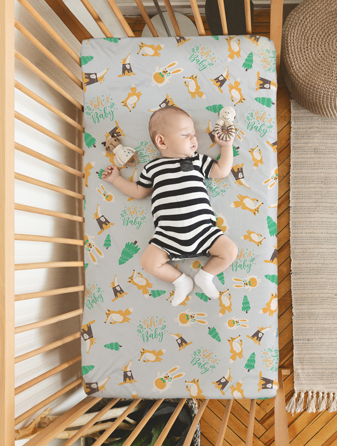 Mothercare | Rabitat 100% Organic Cotton Fitted Sheet  (Oh Baby)