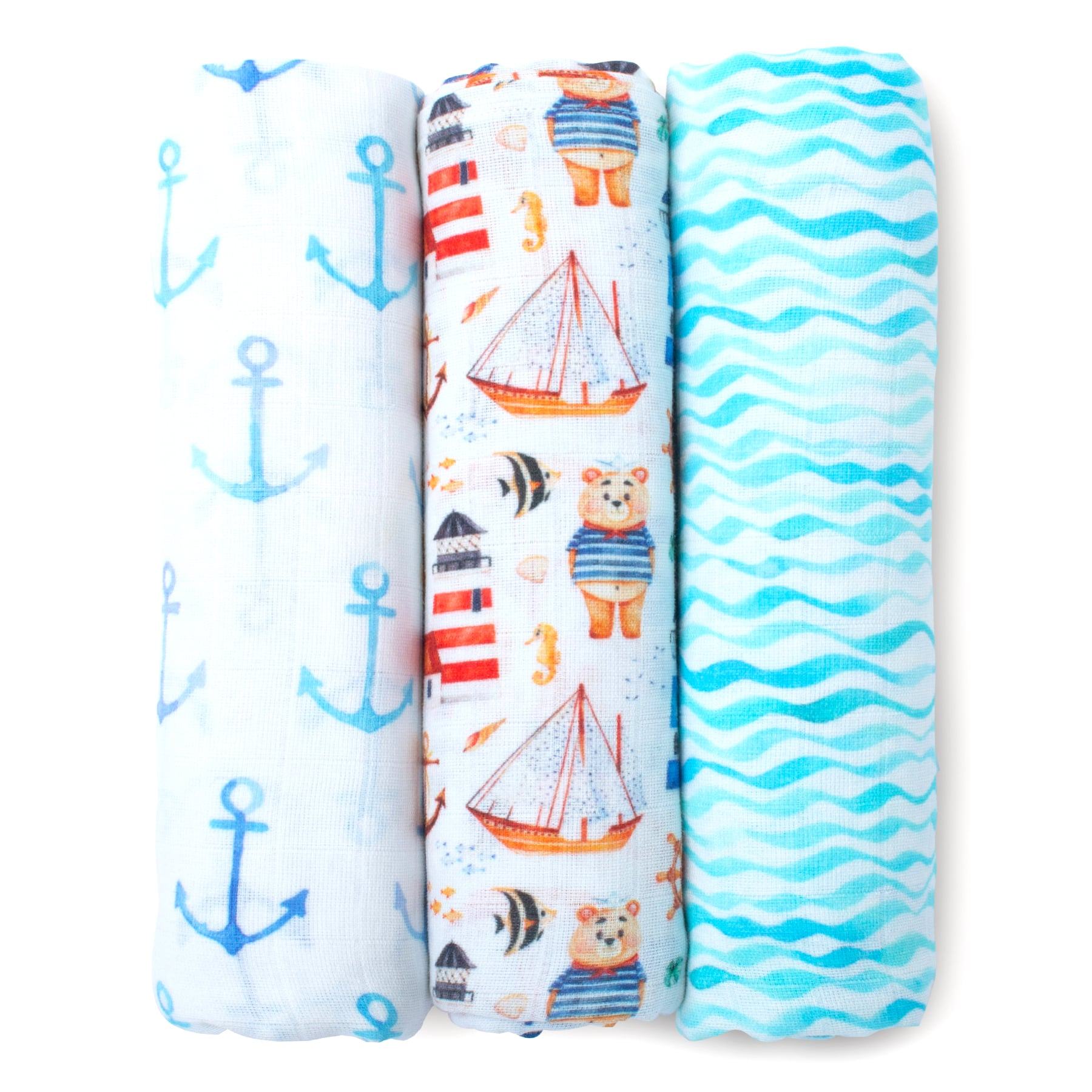 Mothercare | Fancy Fluff Pack of 3 Organic swaddle Wraps -  Nautical