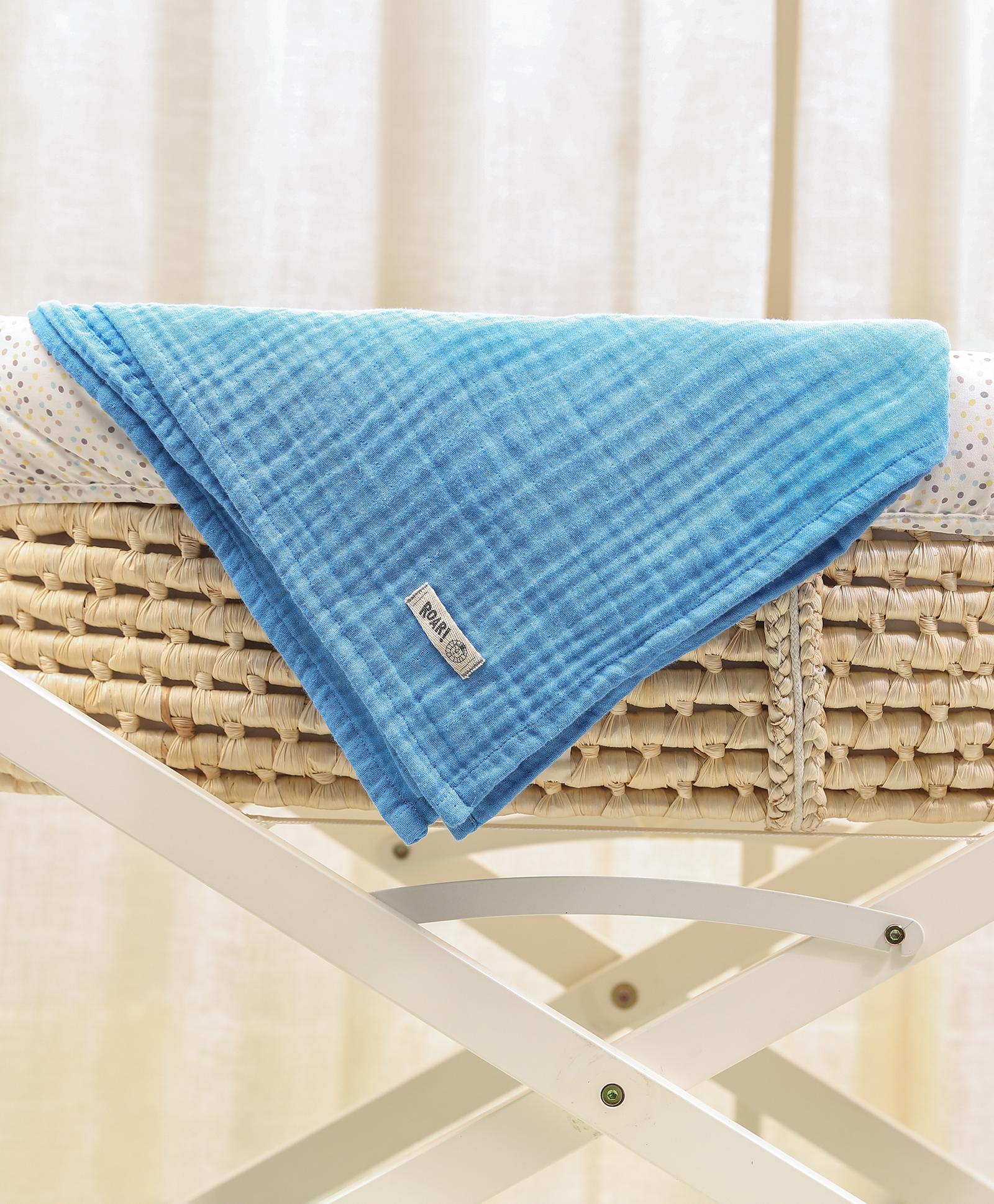 Mothercare | Mi Arcus Premium Organic Cotton Muslin Blanket Blue