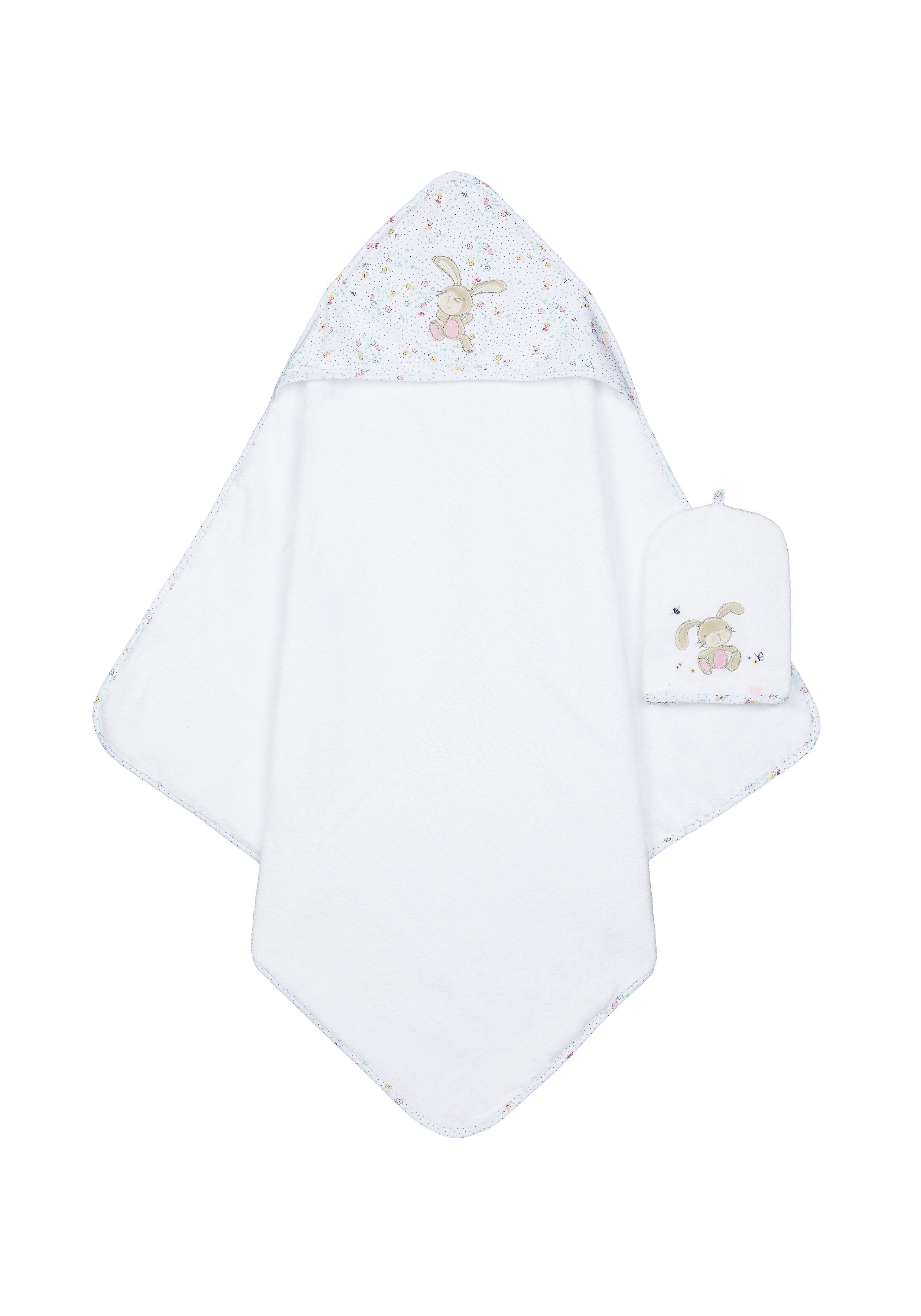 Mothercare   Mothercare Spring Flower Cuddle and Dry Baby Towels Mitt Multi