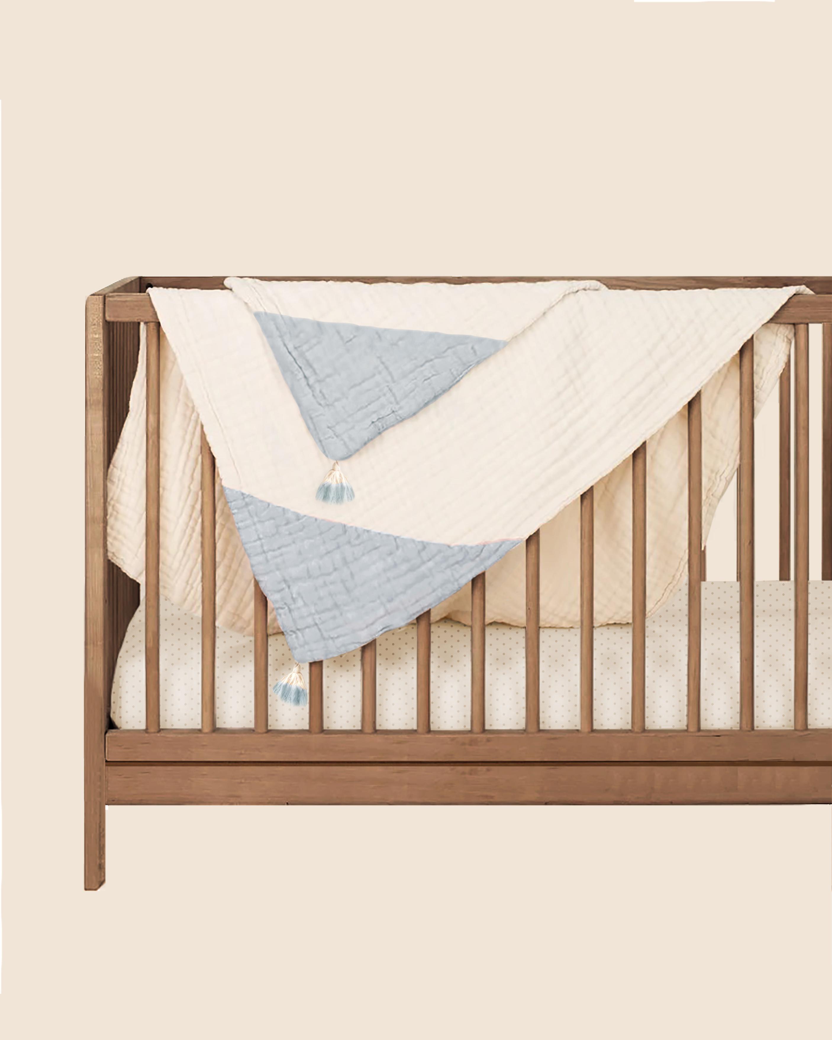 Mothercare | Abracadabra Organic 4 Layer Muslin Blanket With Tassels - Blue