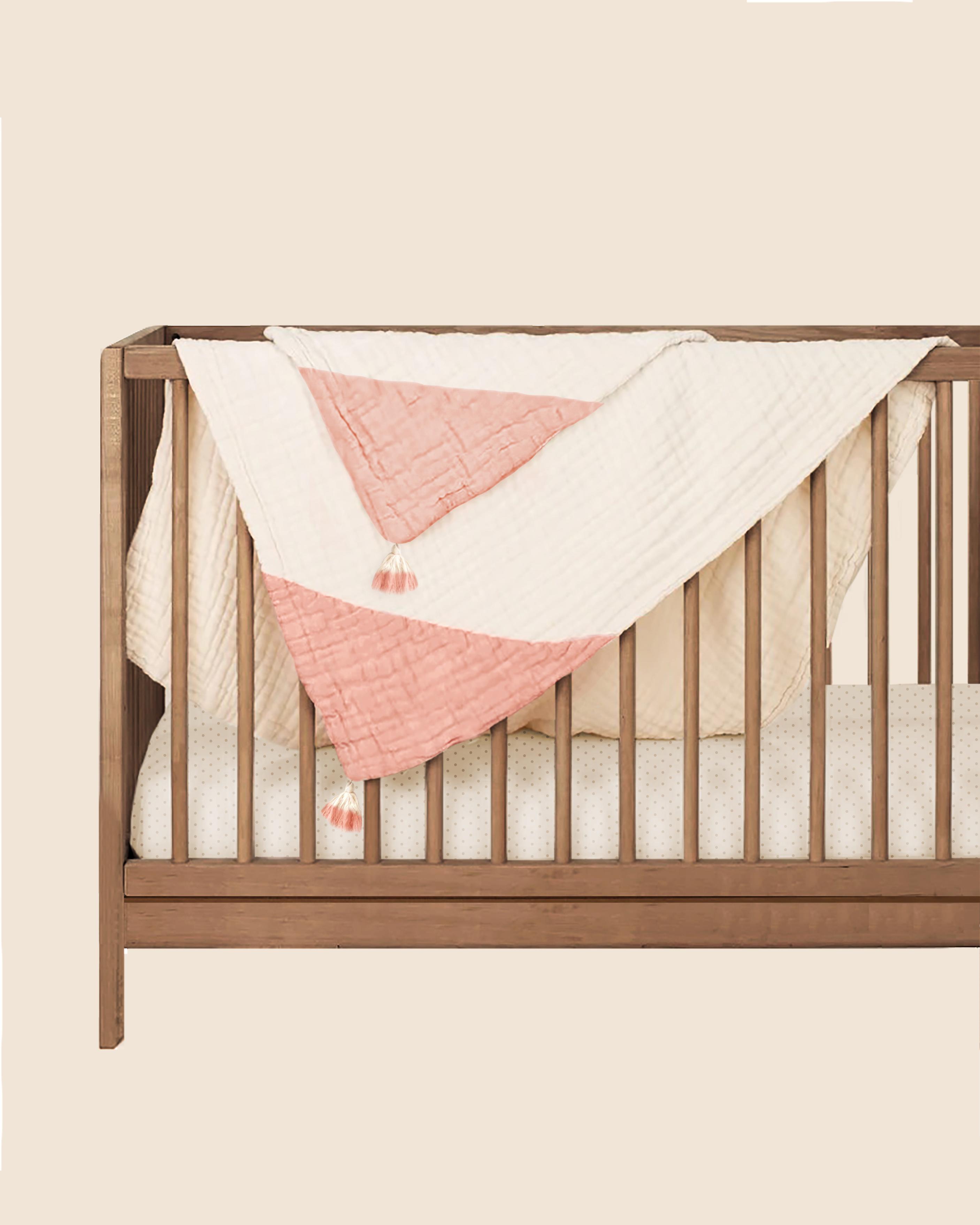Mothercare | Abracadabra Organic 4 Layer Muslin Blanket With Tassels - Pink