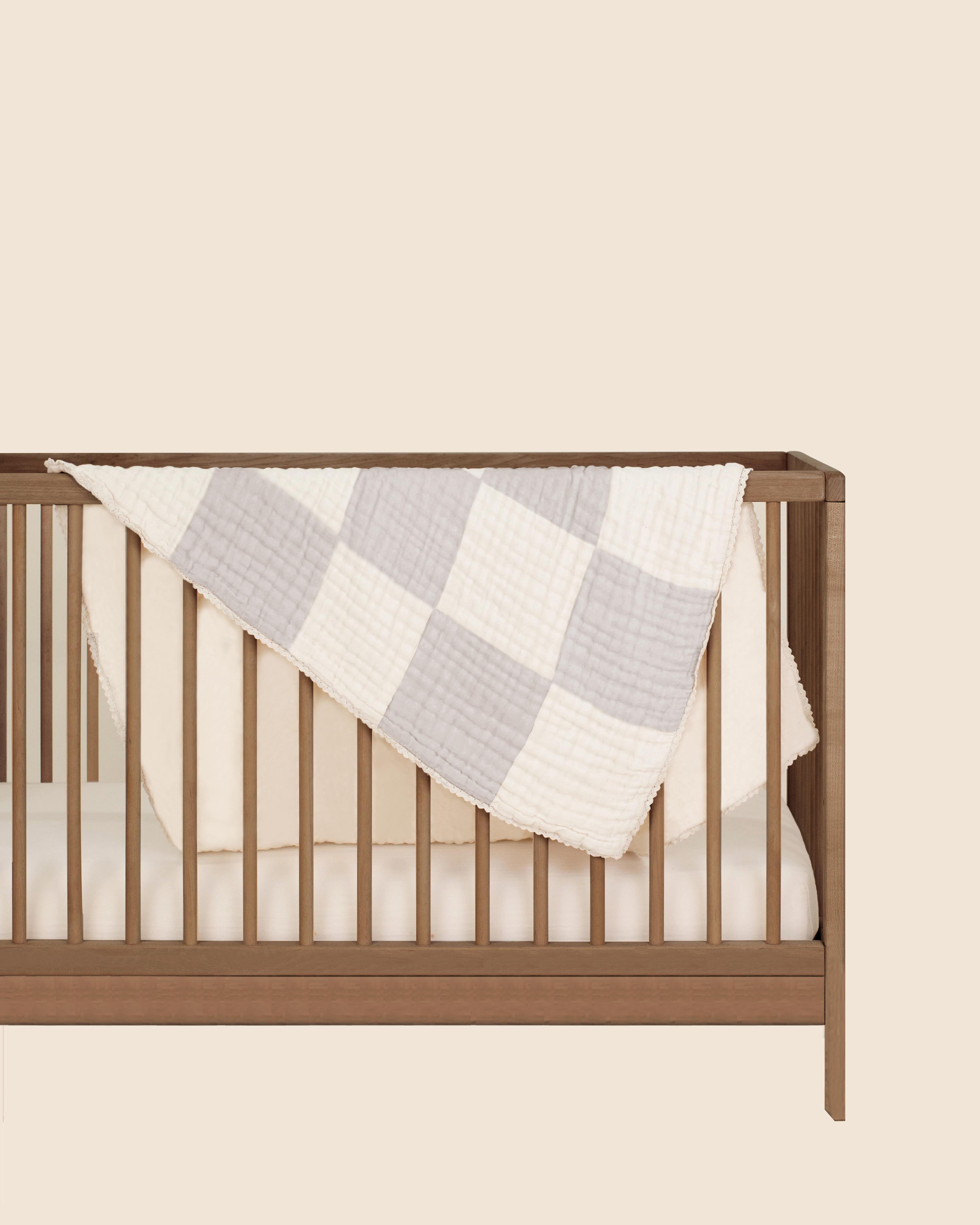 Mothercare   Abracadabra Organic 4 Layer Patchwork Muslin Blanket - Grey