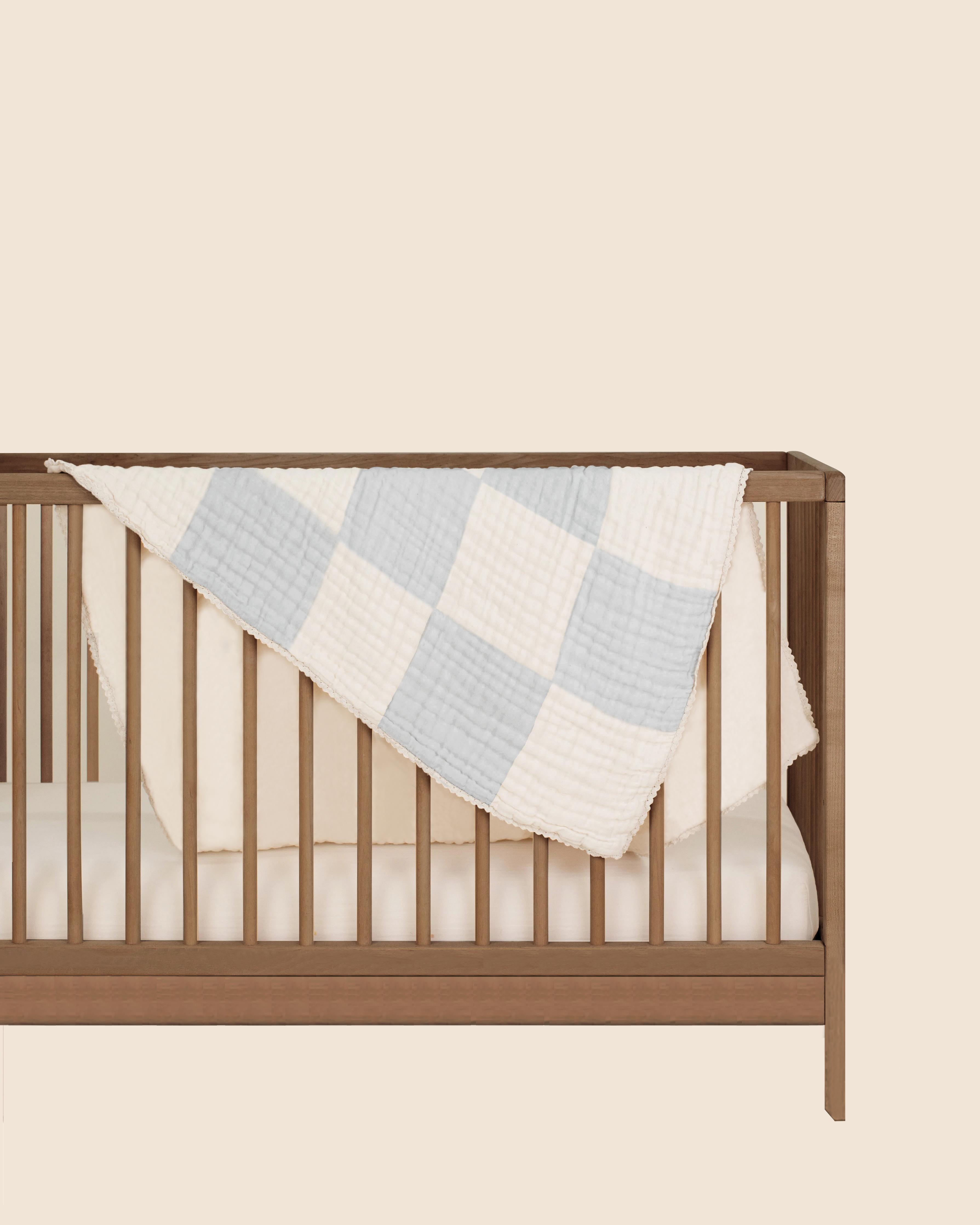 Mothercare | Abracadabra Organic 4 Layer Patchwork Muslin Blanket - Blue