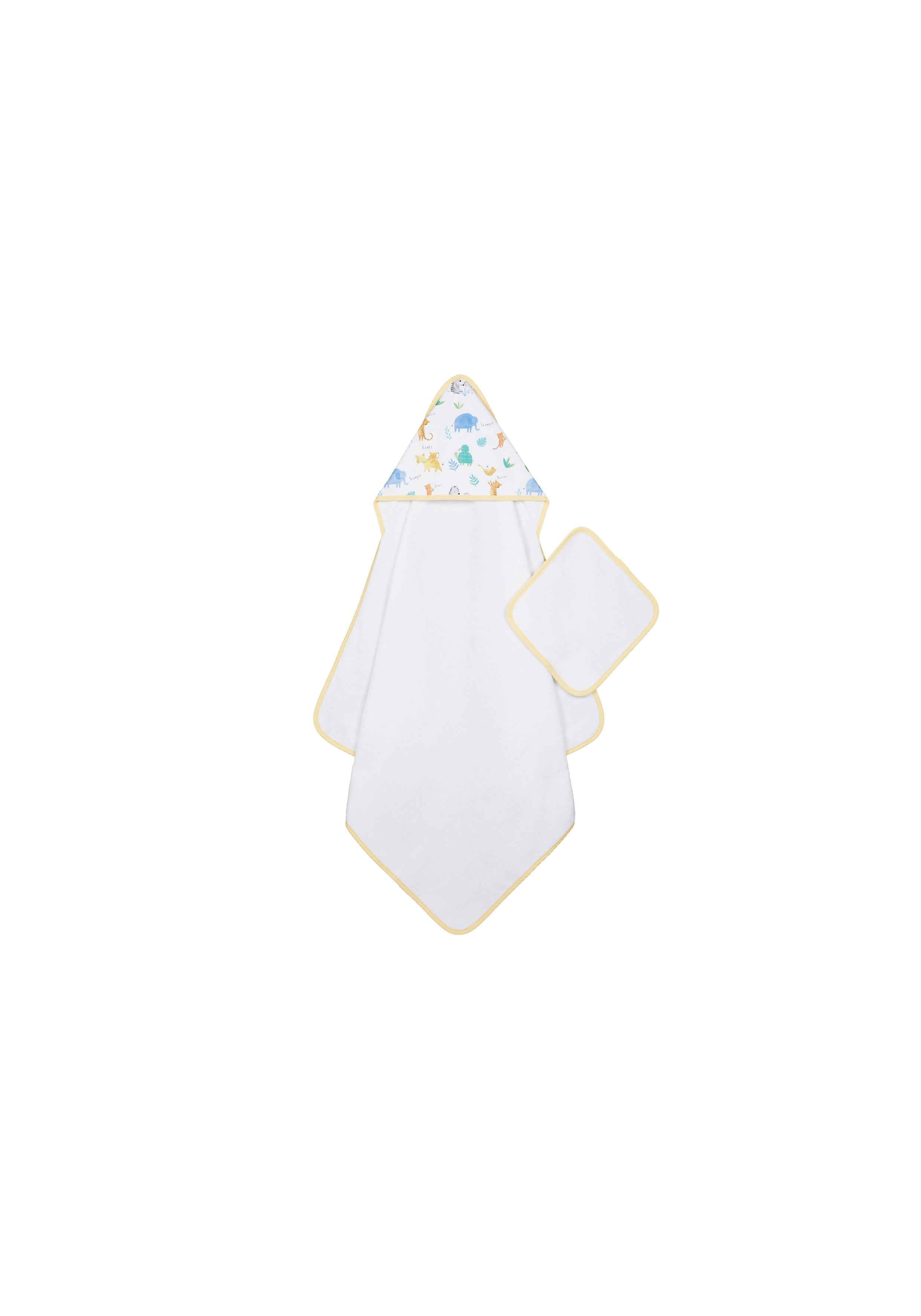 Mothercare | Mothercare Sleepy Safari Cuddle And Dry & Mitt White