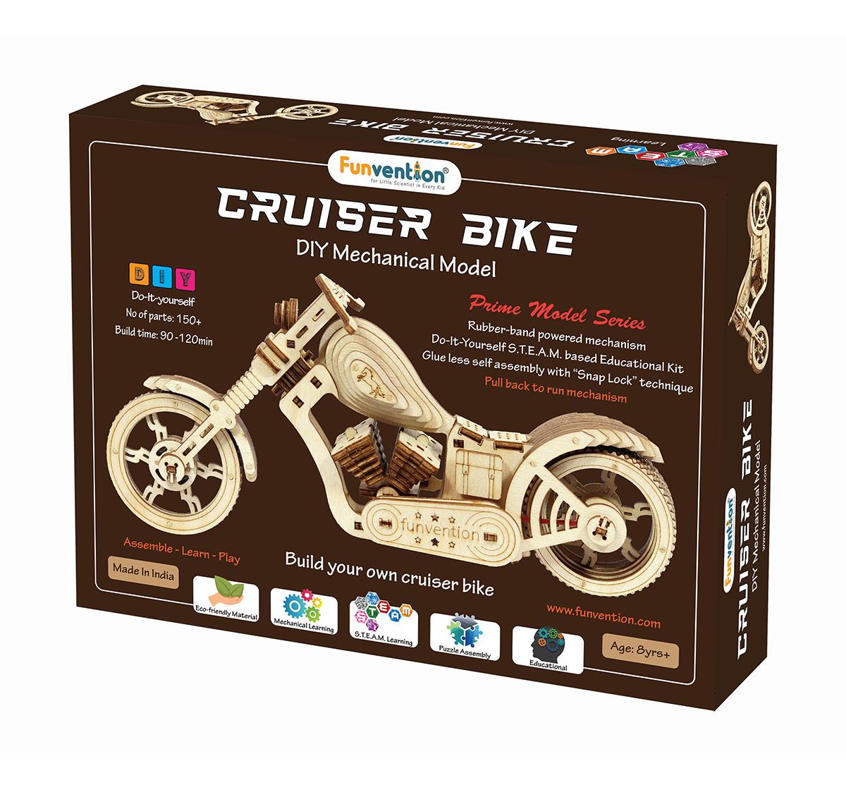 Funvention | Funvention Cruiser Bike - Diy Mechanical Model Stem for Kids Age 8Y+