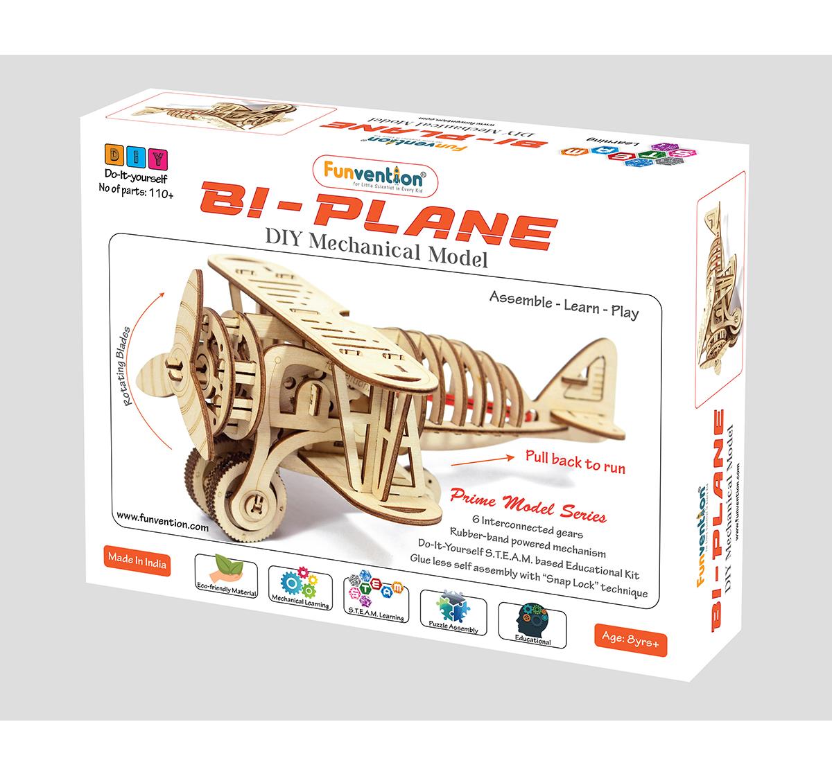 Funvention | Funvention Bi-Plane - Diy Mechanical Model (Prime Series) Stem for Kids Age 8Y+
