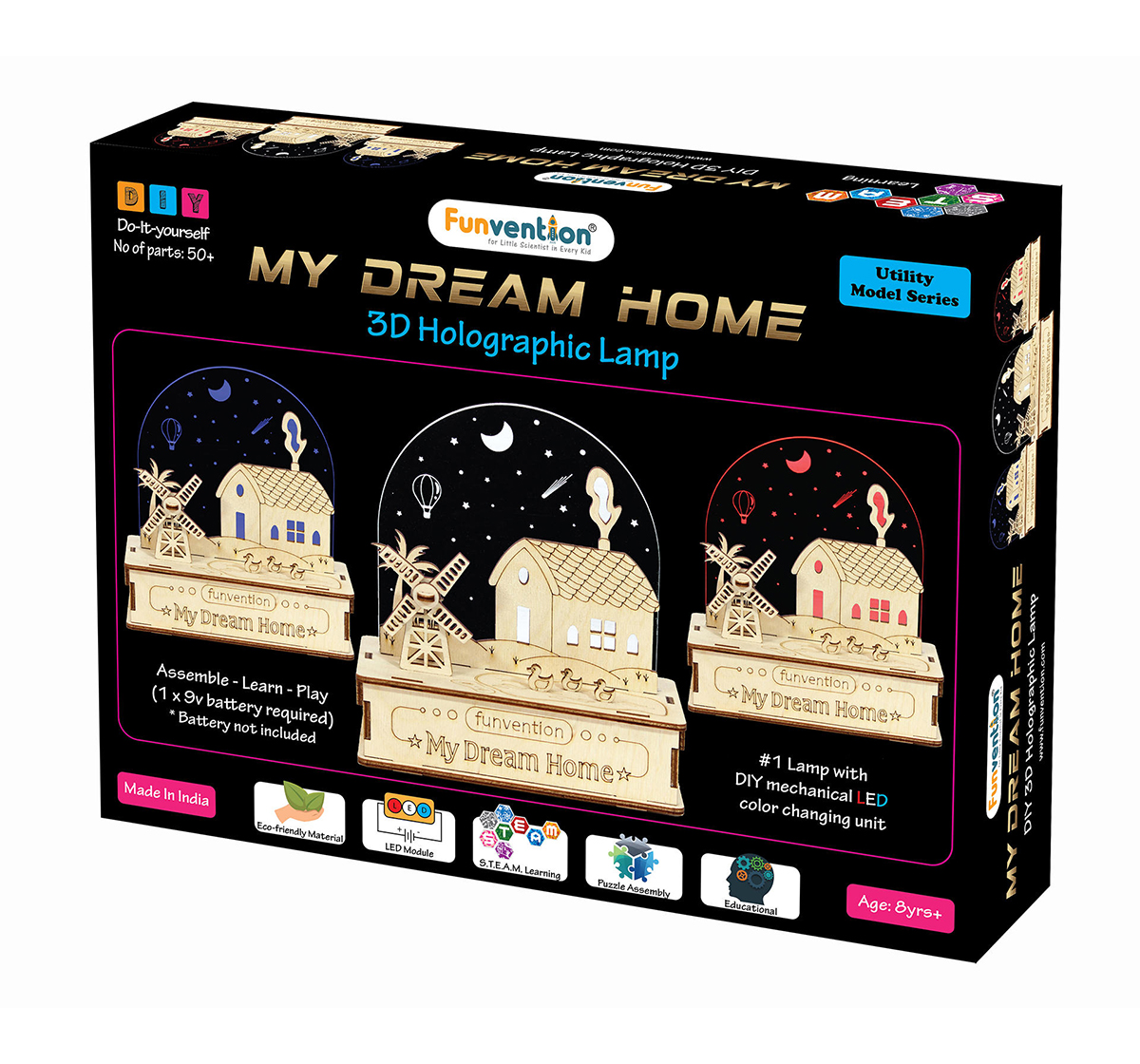 Funvention | Funvention 3D Holographic Lamp - My Dream Home (Utility Series) Stem for Kids Age 8Y+