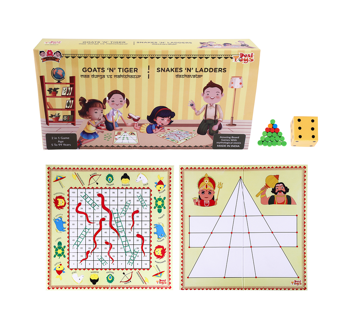 Desi Toys | Desi Toys 2 In 1 Strategy Game Of Goats N Tigers & Snakes N Ladders Classic Games for Kids age 5Y+