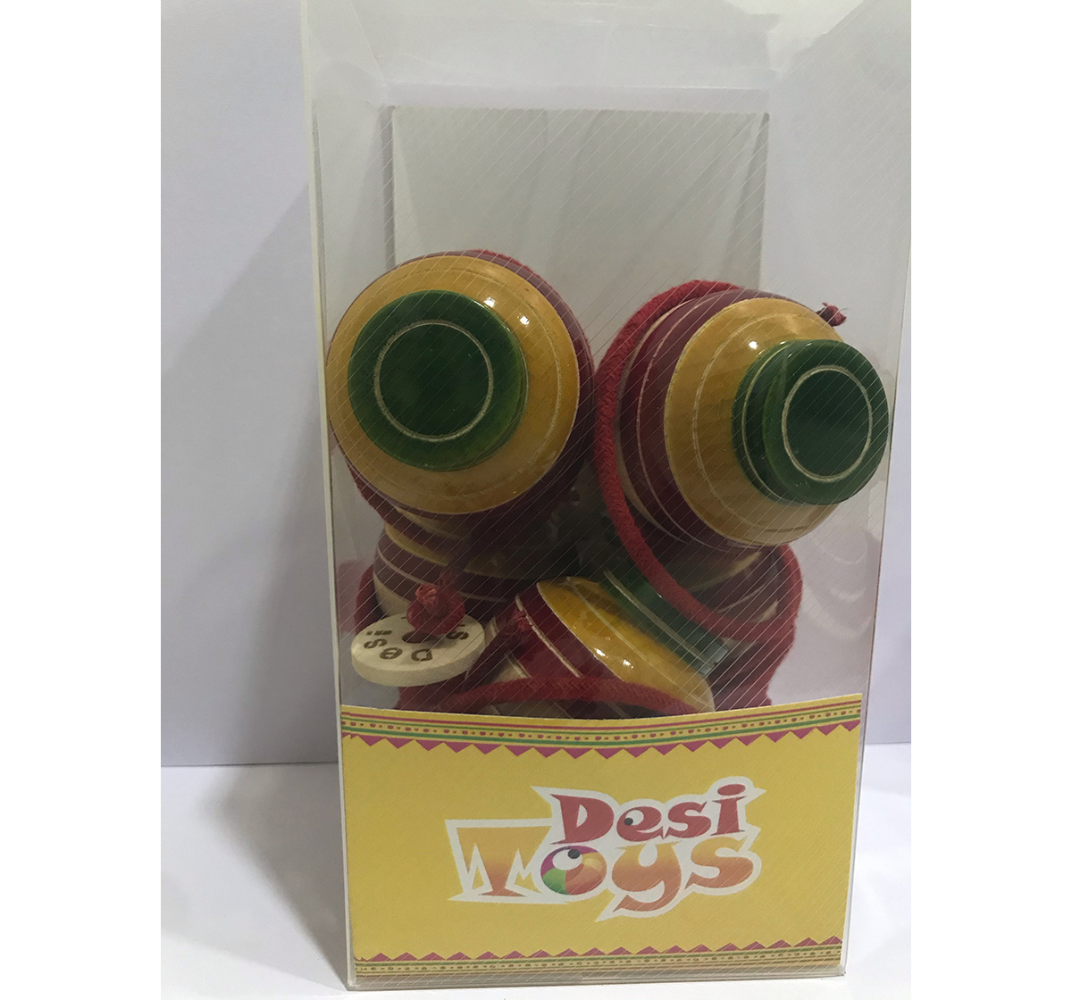 Desi Toys | Desi Toys Spinning Top/Lattu Pack Of 5 Classic Game for Kids age 5Y+ (Red)