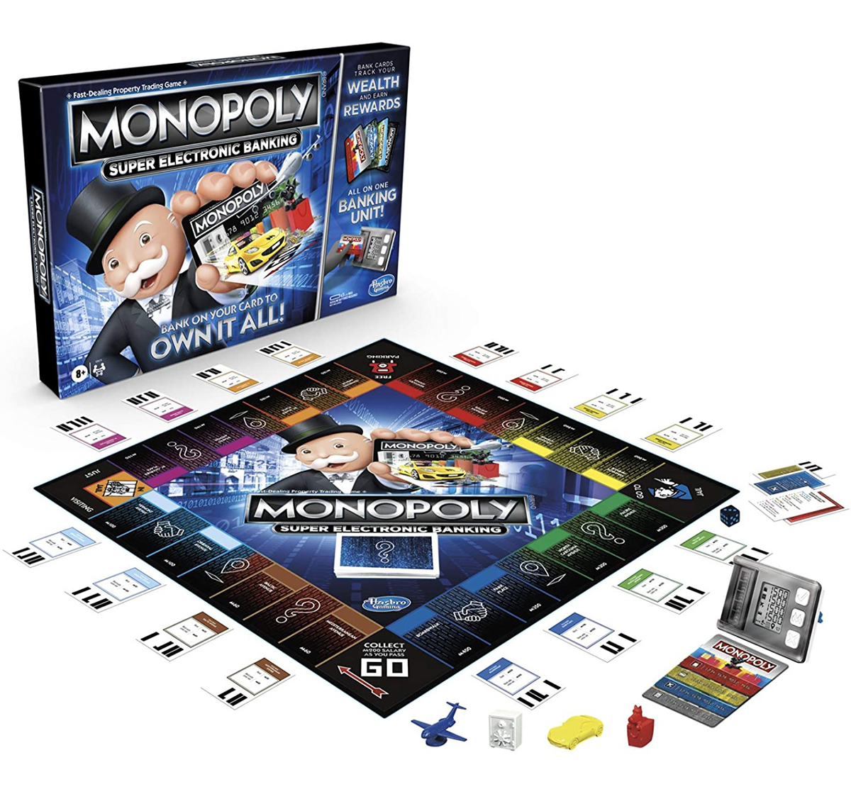 Hasbro Gaming | Hasbro Gaming Monopoly Super Electronic Banking Board Game, Electronic Banking Unit, Choose Your Rewards, Cashless Gameplay Tap Technology, for Ages 8 and Up