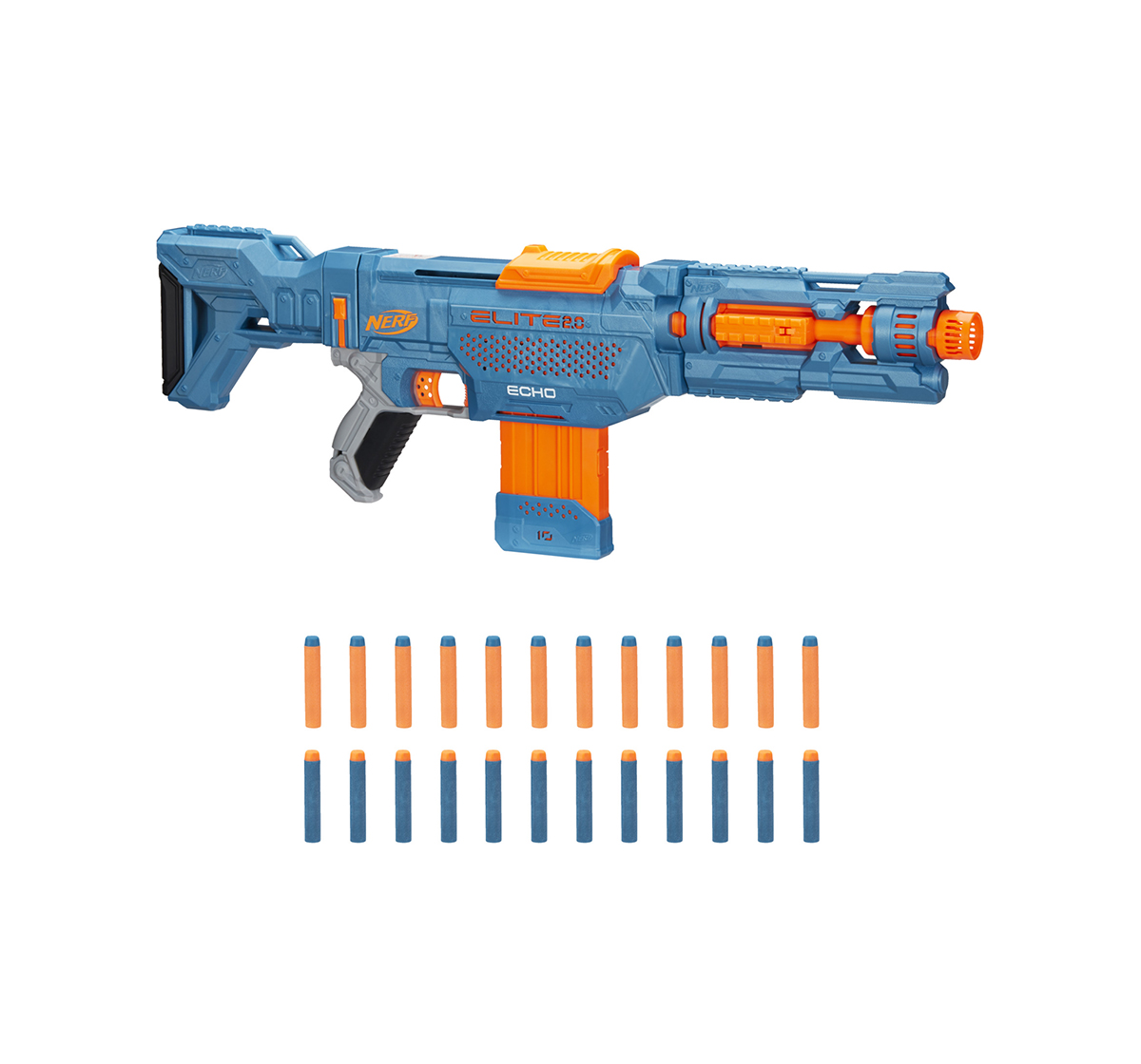 Nerf | Nerf Elite 2.0 Echo CS-10 Blaster -- 24 Official Nerf Darts, 10-Dart Clip, Removable Stock and Barrel Extension, 5 Tactical Rails Blasters for BOYS age 8Y+