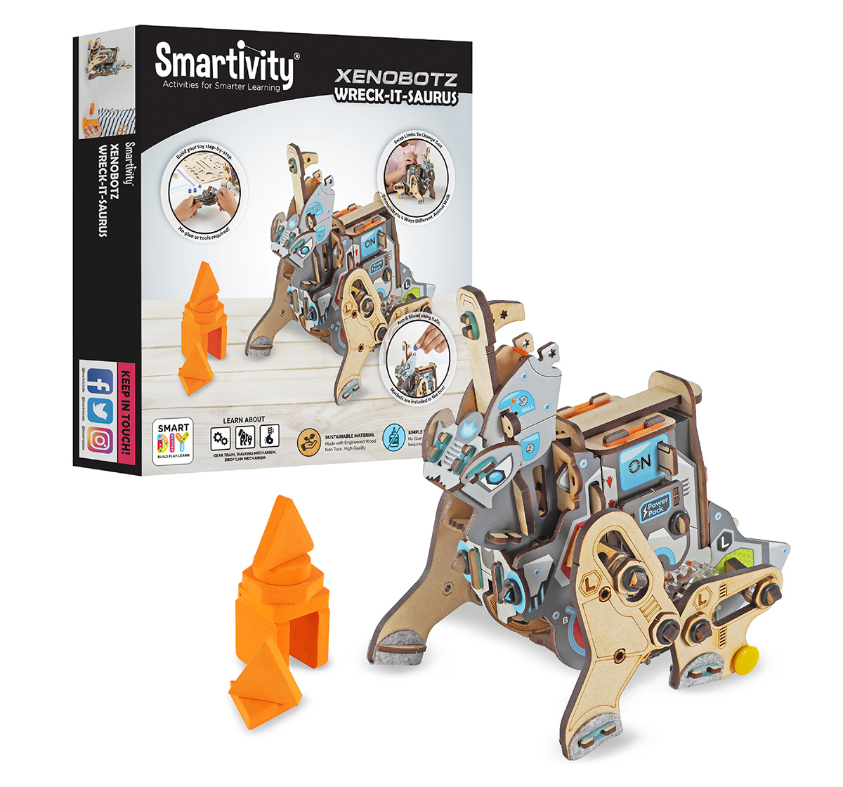 Smartivity | Smartivity Xenobots Wreck-It-Saurus, Stem, Learning, Educational And Construction Activity Toy Gift (Multi-Color), Unisex, 6Y+ (Multicolor)