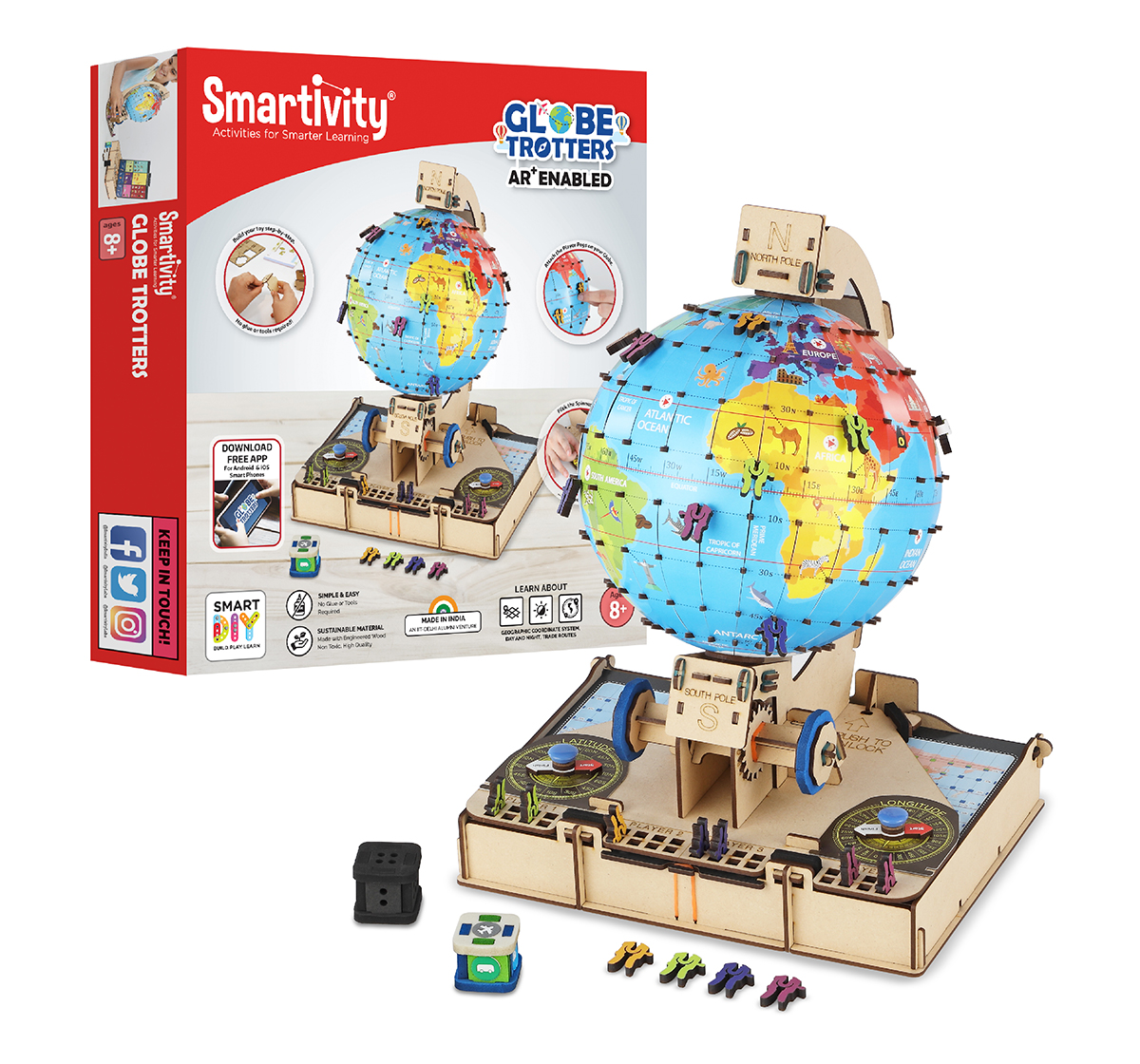 Smartivity | Smartivity Labs GLOBE Trotters Augmented Reality STEM Educational DIY Construction Toy Kit Easy Instructions Experiment Play Learn Science Free App for Kids age 7Y+