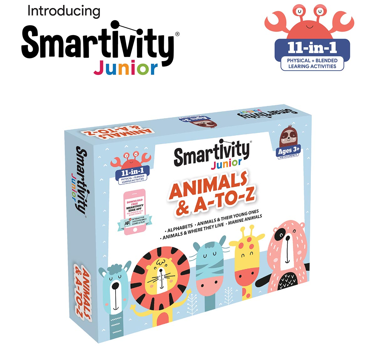 Smartivity   Smartivity Junior Animals & A-to-Z Pre-School STEAM Learning Educational Toy Art & Craft Play 11 in 1 Activity Kit