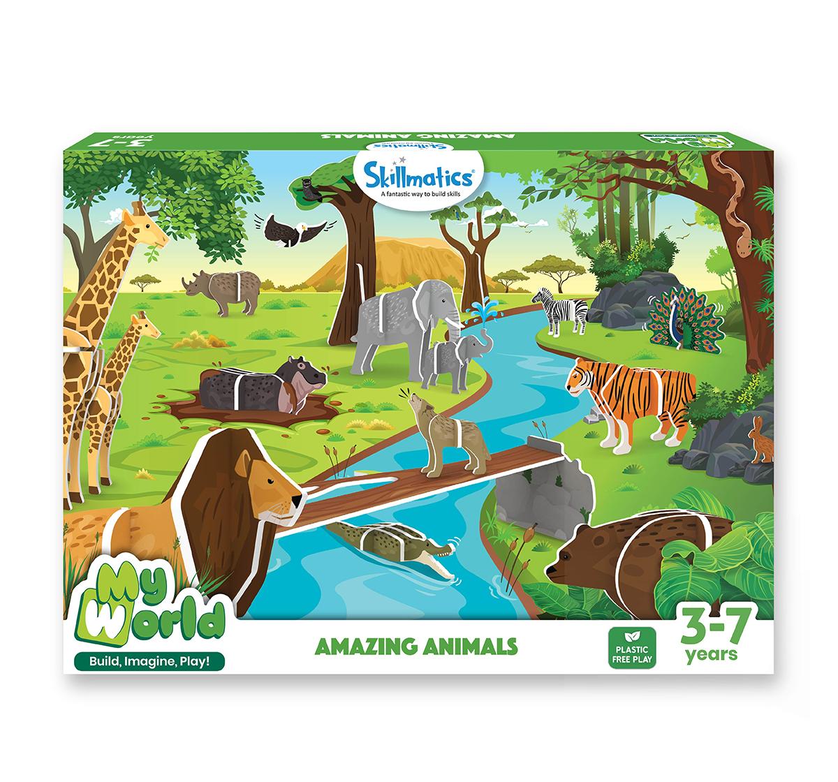Skillmatics | Skillmatics My World Amazing Animals Building Playset, Multicolor, 3Y+