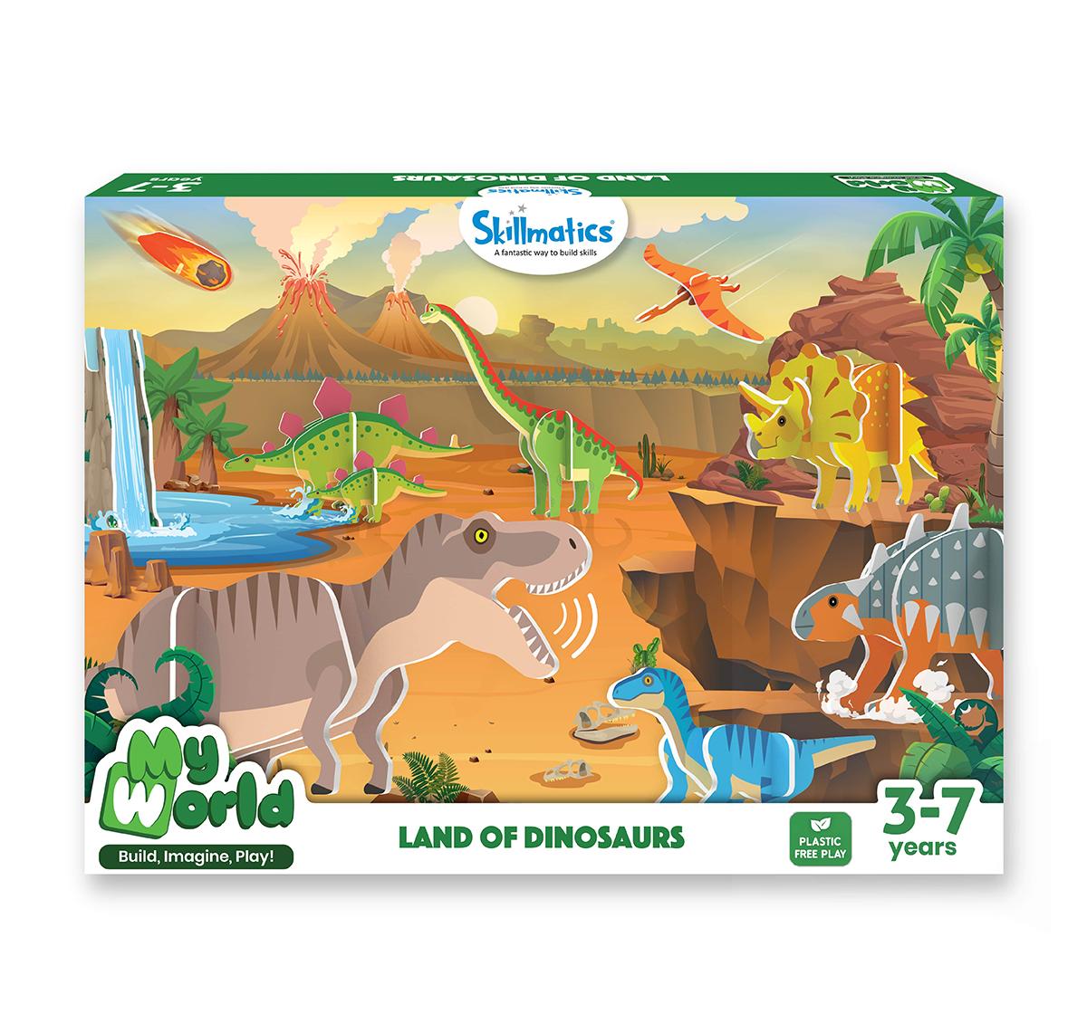 Skillmatics | Skillmatics My World Land Of Dinosaurs Building Playset, Multicolor, 3Y+