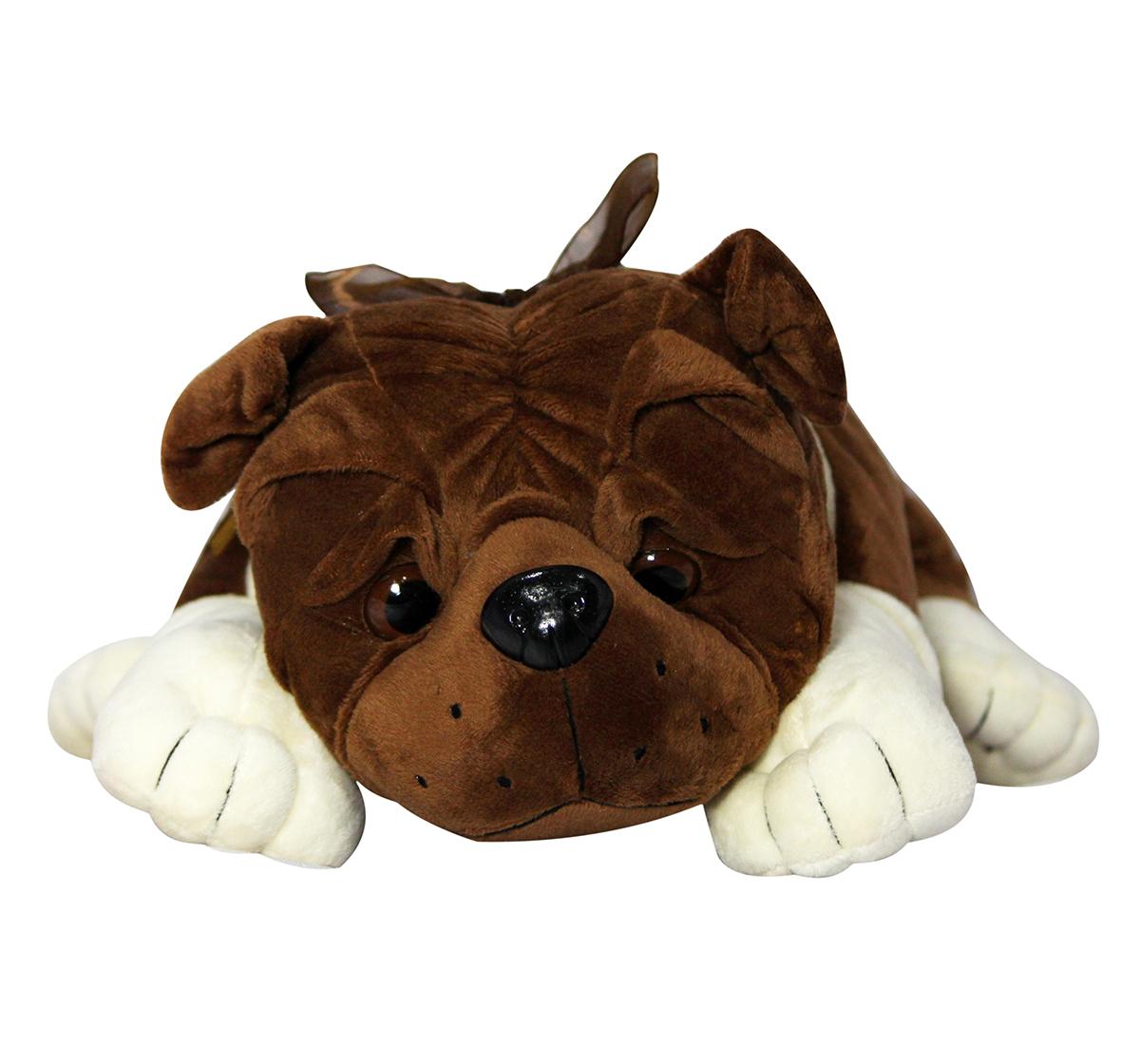 Soft Buddies   Soft Buddies Lying Bull Dog Large, Unisex, 9M+ (Dark Brown)