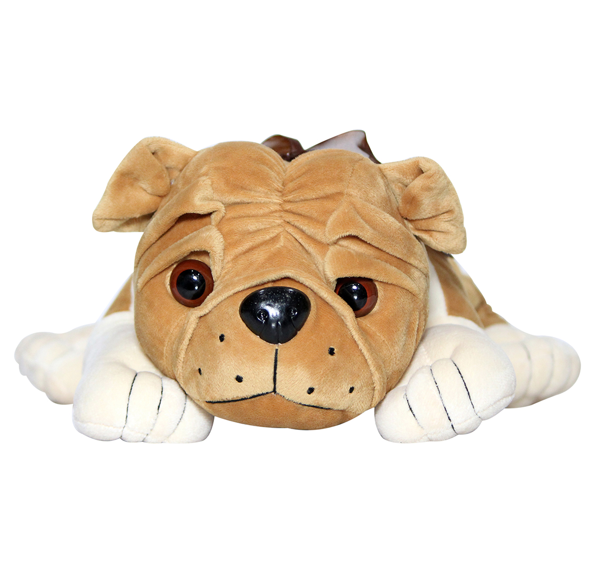 Soft Buddies | Soft Buddies Lying Bull Dog Large, Unisex, 9M+ (Light Brown)