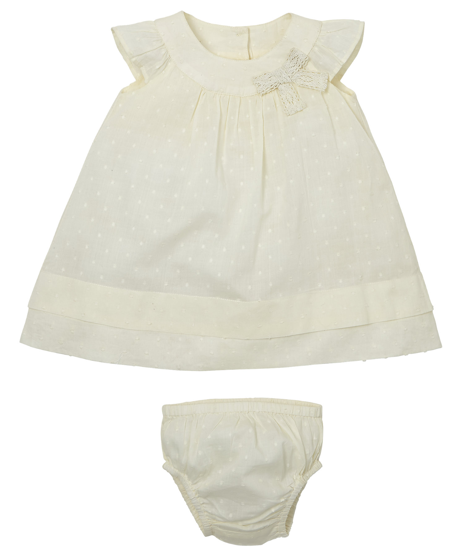 Mothercare | Girls Half Sleeves Dobby Dress With Knickers - Lemon