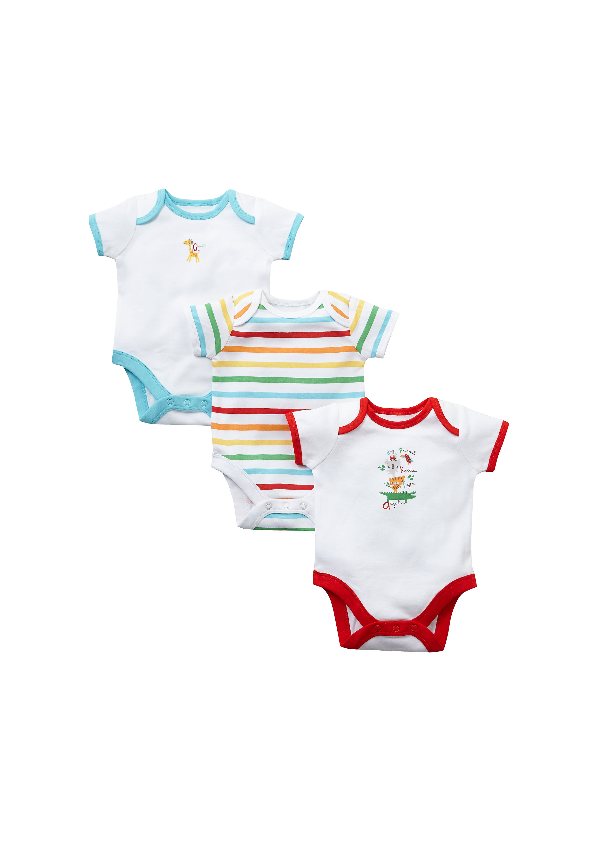 Mothercare | White Unisex Unisex Short Sleeve Bodysuits - Pack Of 3