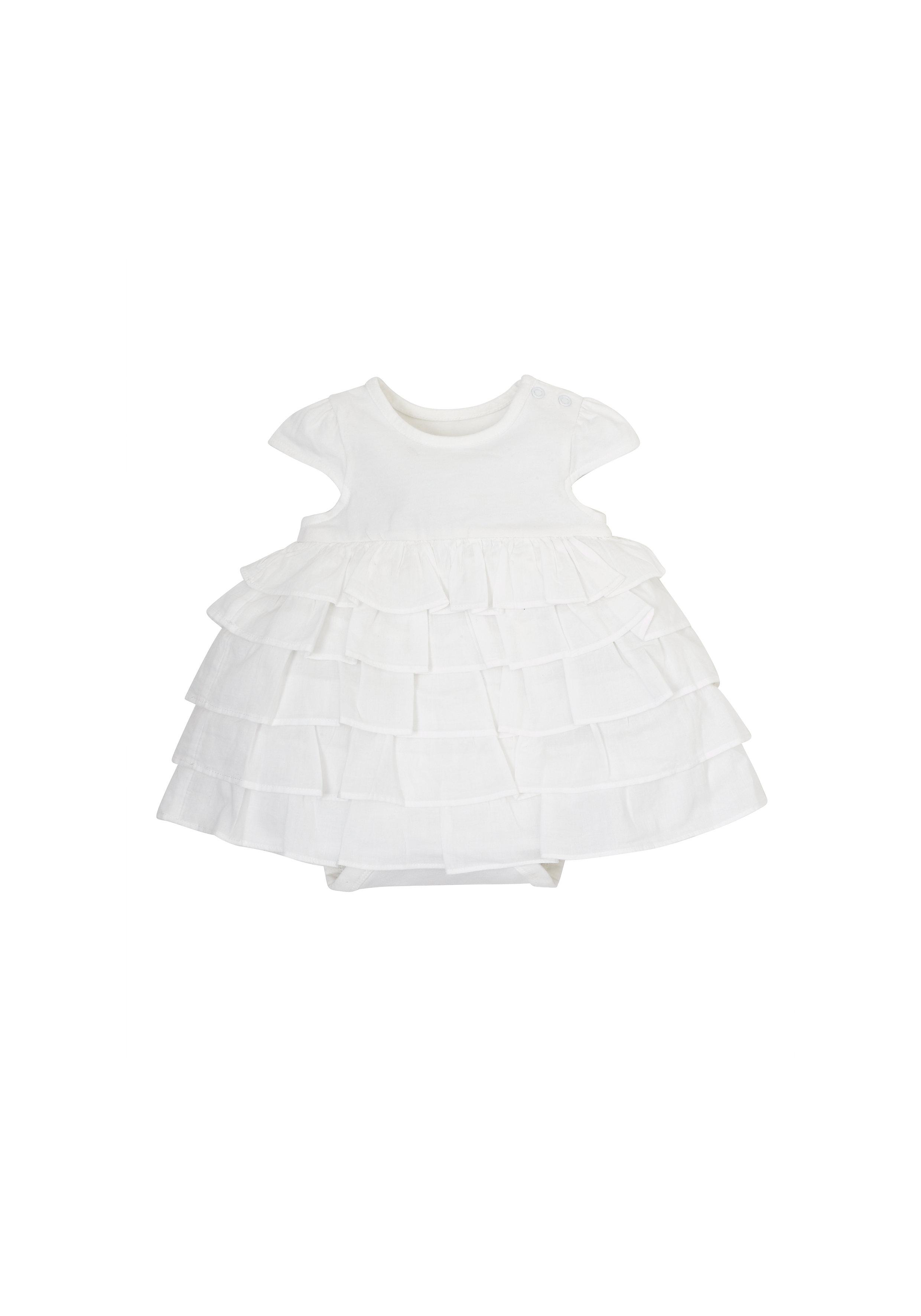 Mothercare | Girls Jersey Romper Dress - White