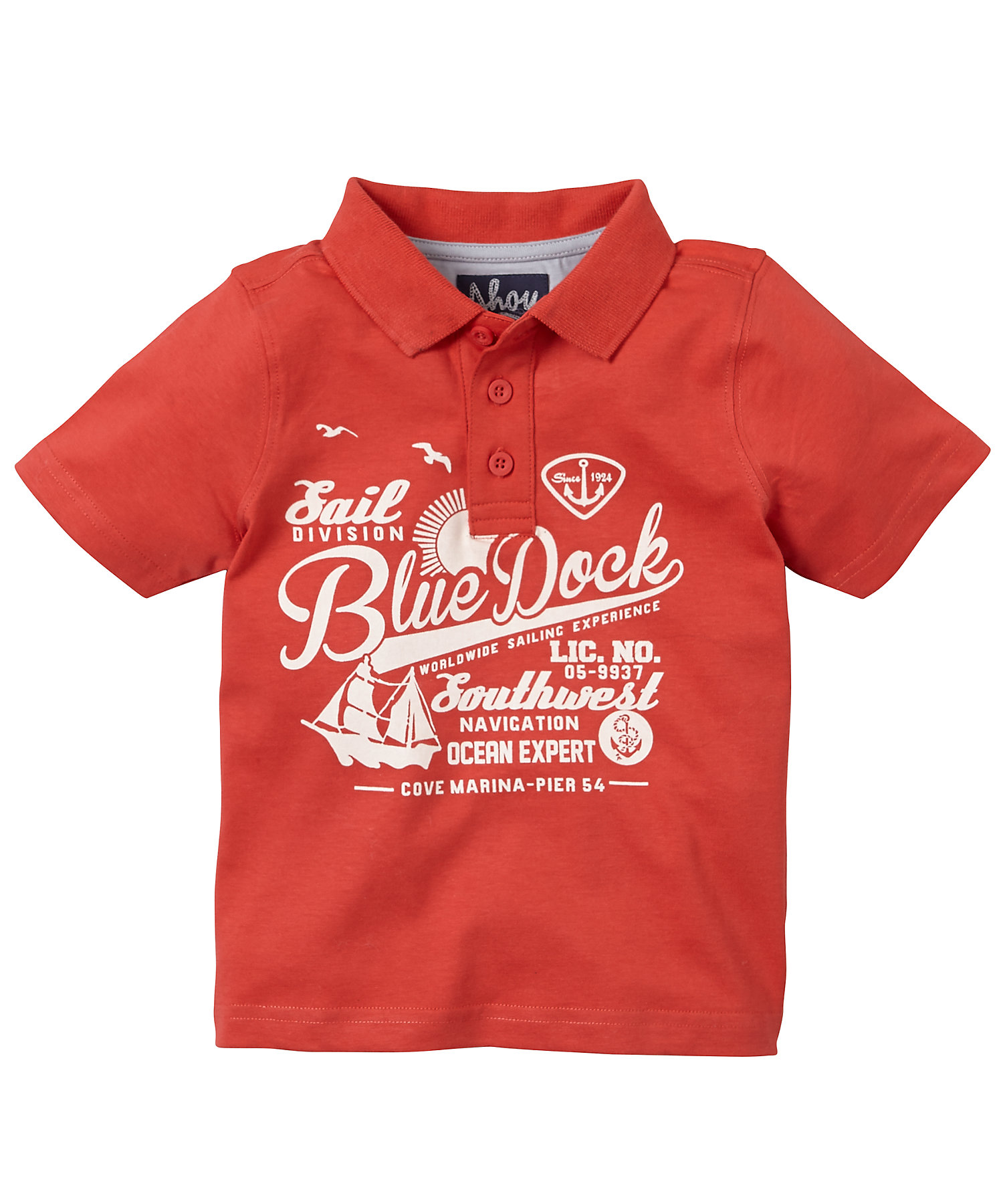Mothercare | Boys Half Sleeves Polo T-Shirt Text Print - Red