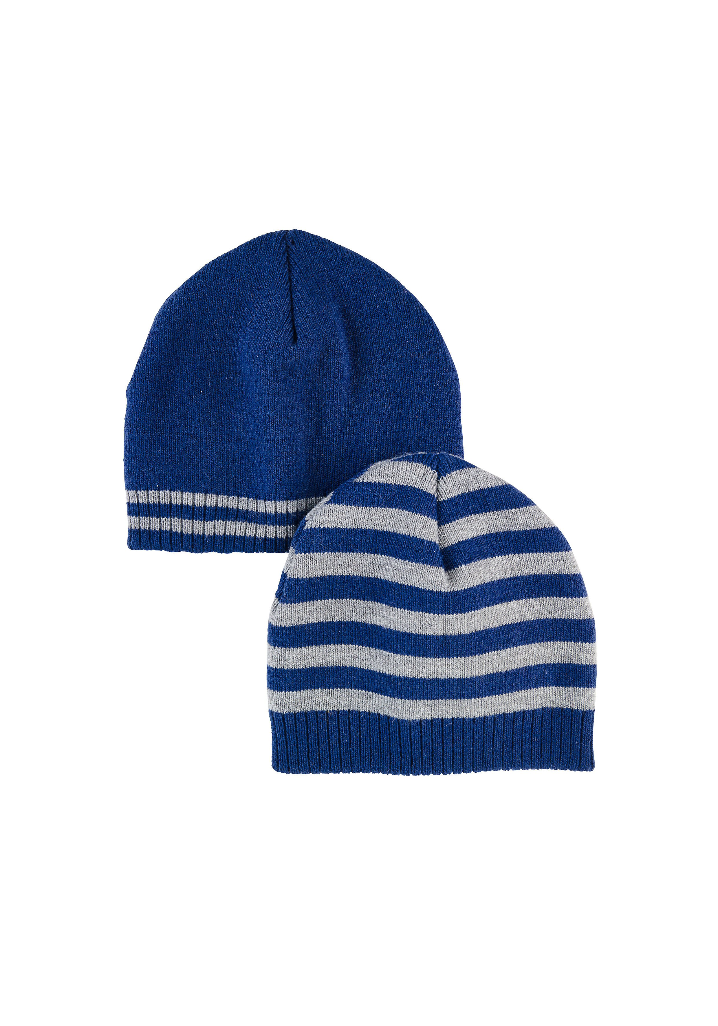 Mothercare | Boys  Beanie Striped - Pack Of 2 - Blue